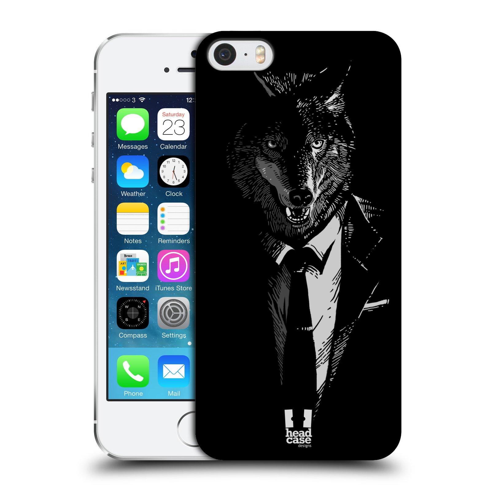 Plastové pouzdro na mobil Apple iPhone SE, 5 a 5S HEAD CASE VLK V KVÁDRU