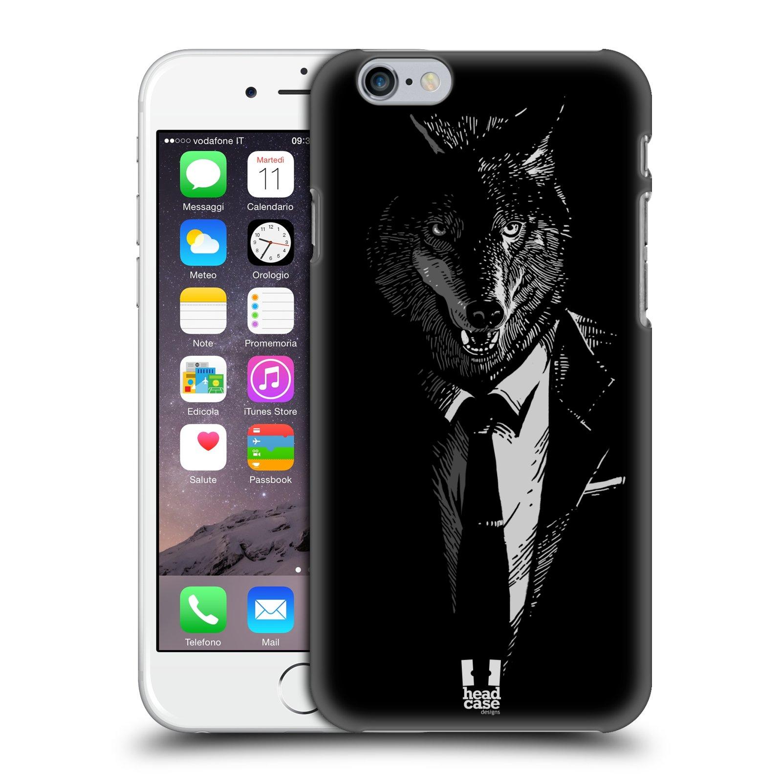 Plastové pouzdro na mobil Apple iPhone 6 a 6S HEAD CASE VLK V KVÁDRU