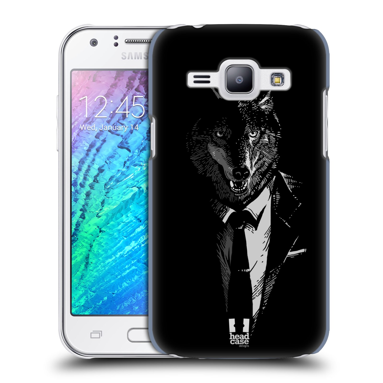 Plastové pouzdro na mobil Samsung Galaxy J1 HEAD CASE VLK V KVÁDRU (Kryt či obal na mobilní telefon Samsung Galaxy J1 a J1 Duos )