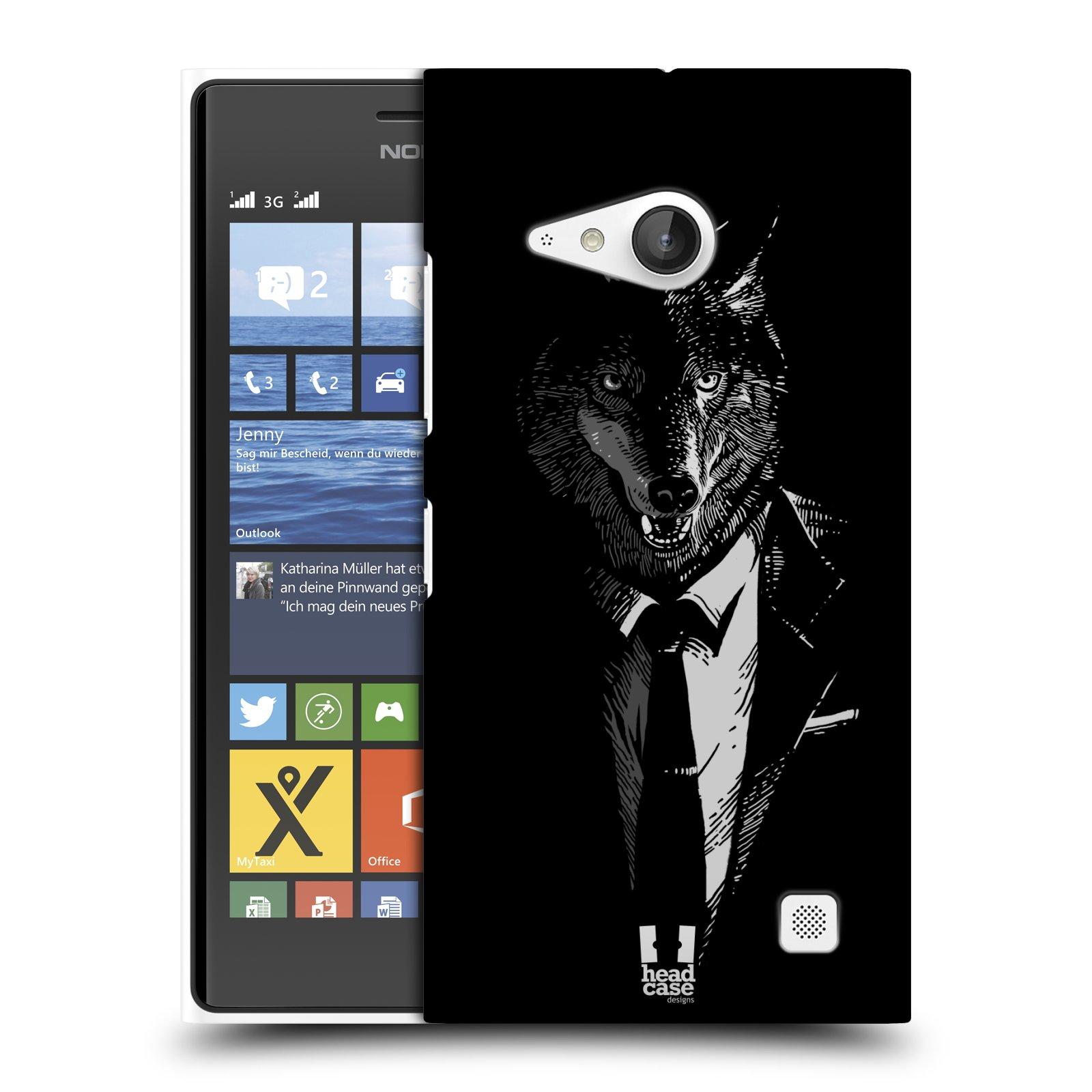 Plastové pouzdro na mobil Nokia Lumia 730 Dual SIM HEAD CASE VLK V KVÁDRU (Kryt či obal na mobilní telefon Nokia Lumia 730 Dual SIM)