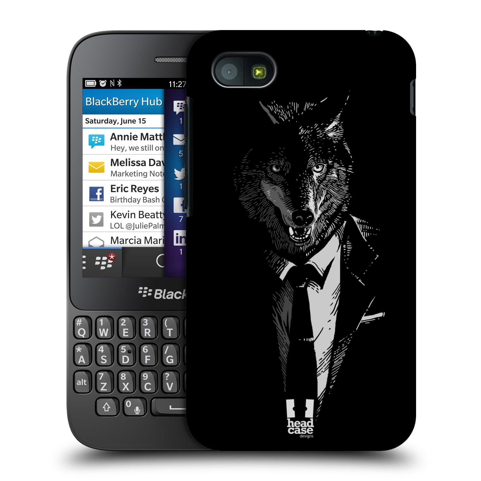 Plastové pouzdro na mobil Blackberry Q5 HEAD CASE VLK V KVÁDRU (Kryt či obal na mobilní telefon Blackberry Q5)