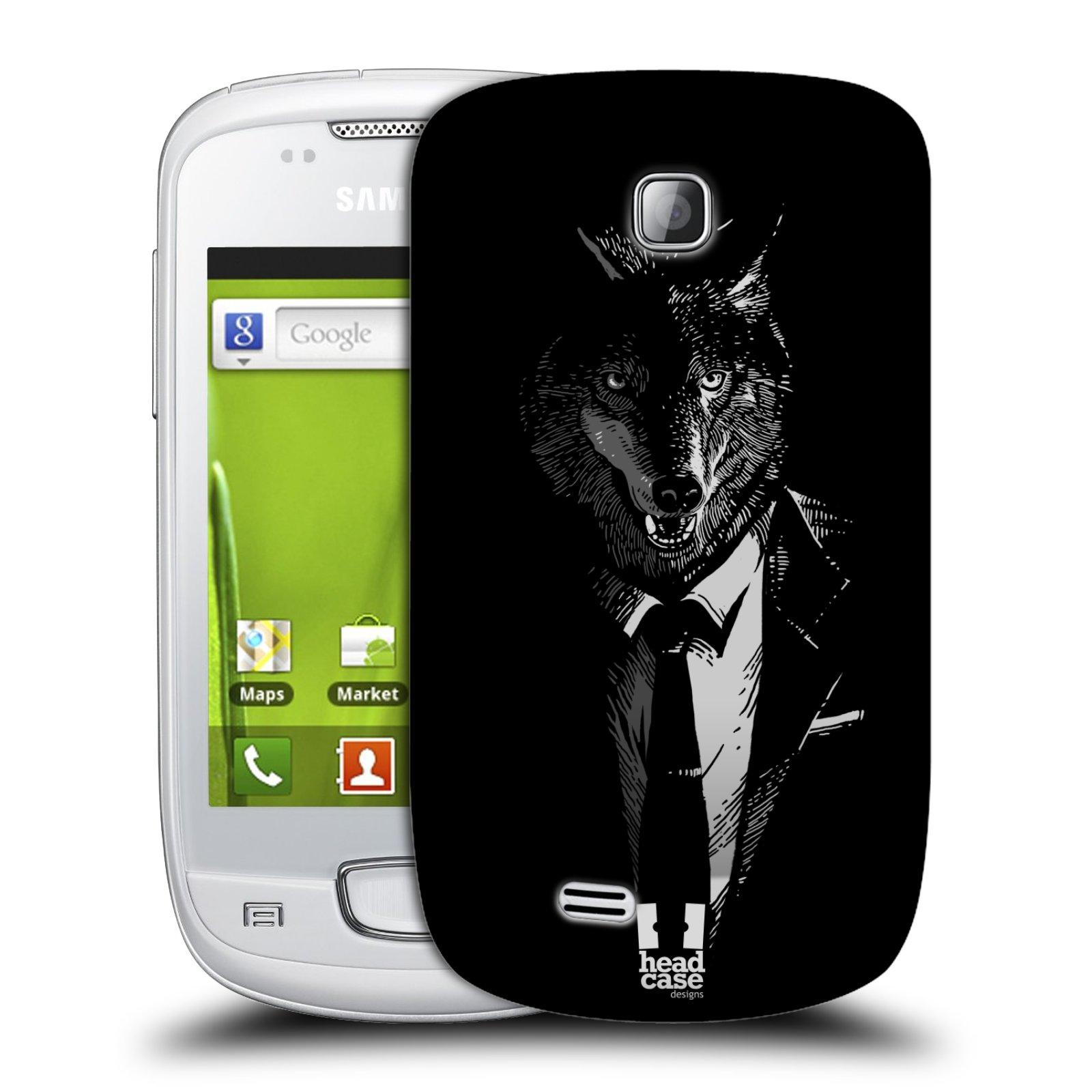 Plastové pouzdro na mobil Samsung Galaxy Mini HEAD CASE VLK V KVÁDRU (Kryt či obal na mobilní telefon Samsung Galaxy Mini GT-S5570 / GT-S5570i)
