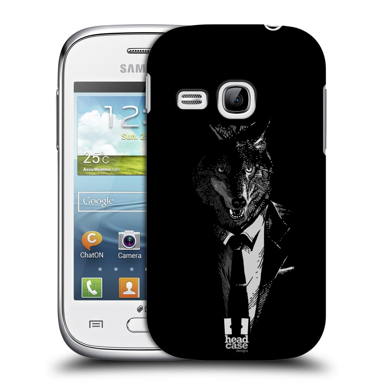 Plastové pouzdro na mobil Samsung Galaxy Young HEAD CASE VLK V KVÁDRU (Kryt či obal na mobilní telefon Samsung Galaxy Young GT-S6310)