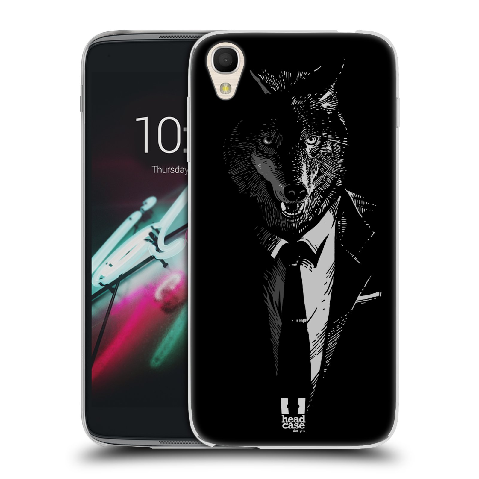 "Silikonové pouzdro na mobil Alcatel One Touch 6039Y Idol 3 HEAD CASE VLK V KVÁDRU (Silikonový kryt či obal na mobilní telefon Alcatel One Touch Idol 3 OT-6039Y s 4,7"" displejem)"