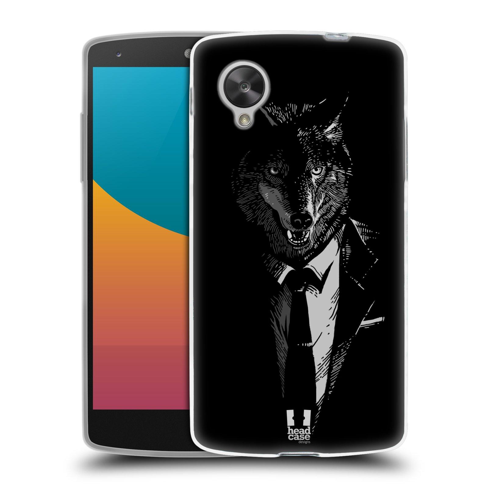 Silikonové pouzdro na mobil LG Nexus 5 HEAD CASE VLK V KVÁDRU (Silikonový kryt či obal na mobilní telefon LG Google Nexus 5 D821)