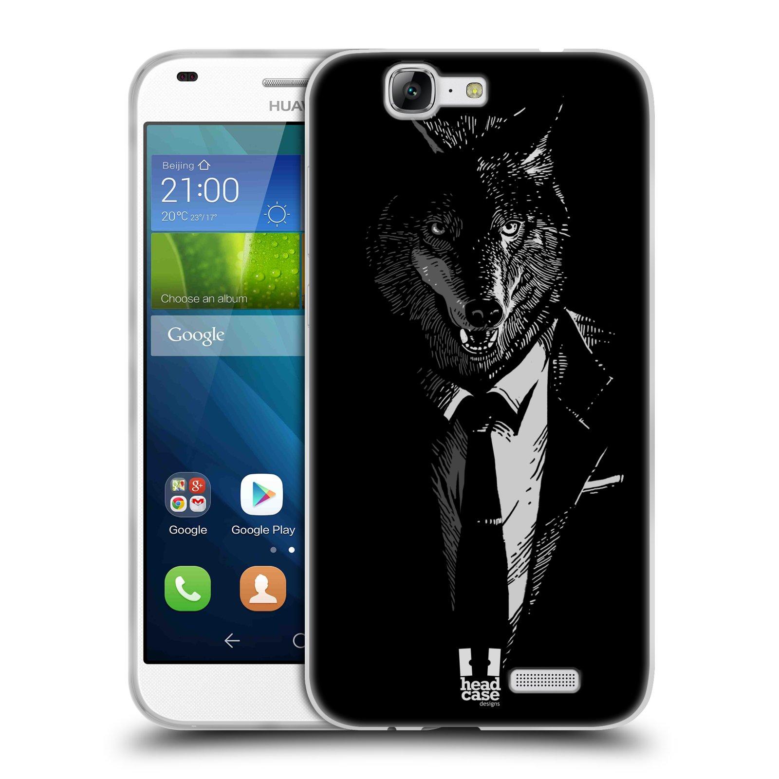 Silikonové pouzdro na mobil Huawei Ascend G7 HEAD CASE VLK V KVÁDRU (Silikonový kryt či obal na mobilní telefon Huawei Ascend G7)