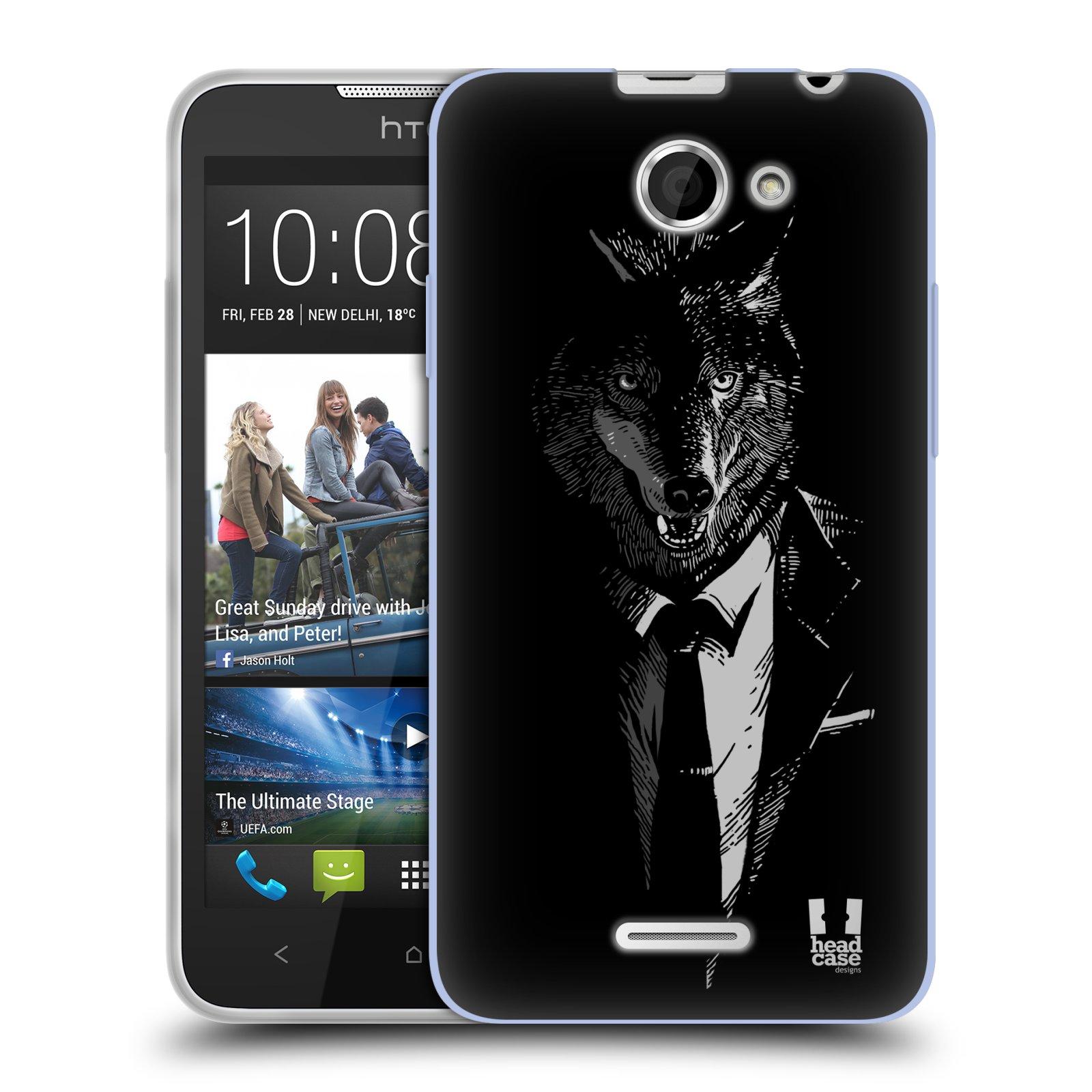 Silikonové pouzdro na mobil HTC Desire 516 HEAD CASE VLK V KVÁDRU (Silikonový kryt či obal na mobilní telefon HTC Desire 516 Dual SIM)