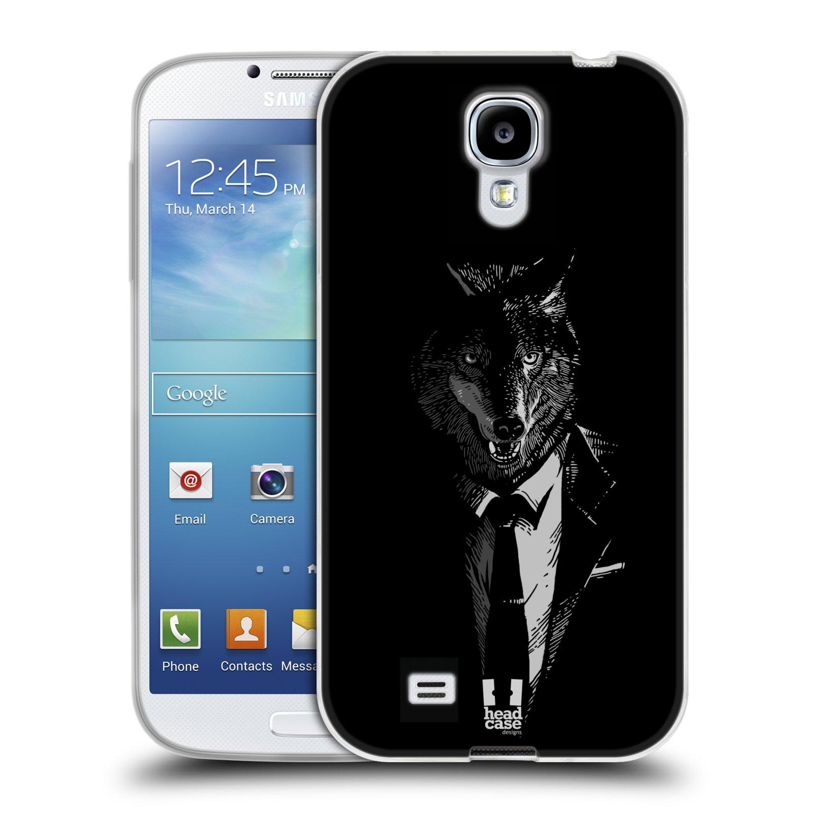 Silikonové pouzdro na mobil Samsung Galaxy S4 HEAD CASE VLK V KVÁDRU (Silikonový kryt či obal na mobilní telefon Samsung Galaxy S4 GT-i9505 / i9500)