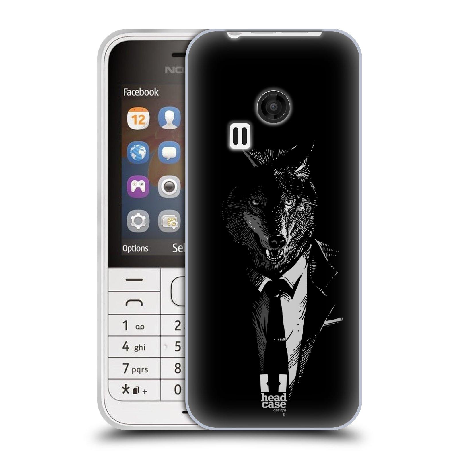 Silikonové pouzdro na mobil Nokia 220 HEAD CASE VLK V KVÁDRU (Silikonový kryt či obal na mobilní telefon Nokia 220 a 220 Dual SIM)