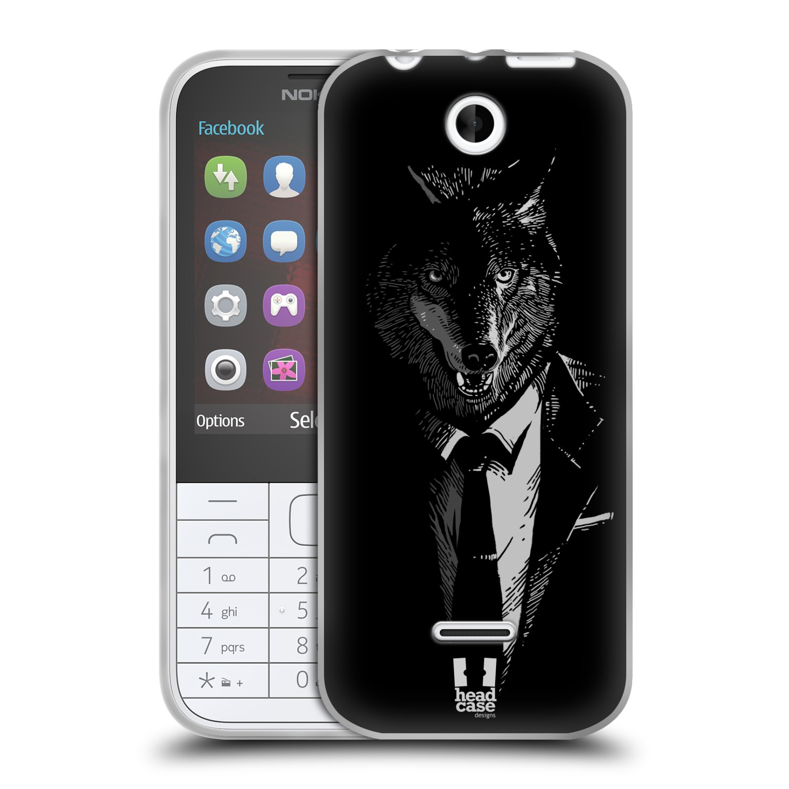 Silikonové pouzdro na mobil Nokia 225 HEAD CASE VLK V KVÁDRU (Silikonový kryt či obal na mobilní telefon Nokia 225)