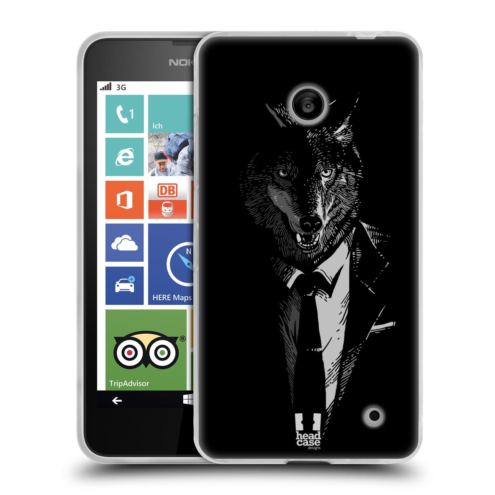 Silikonové pouzdro na mobil Nokia Lumia 635 HEAD CASE VLK V KVÁDRU (Silikonový kryt či obal na mobilní telefon Nokia Lumia 635 Dual SIM)