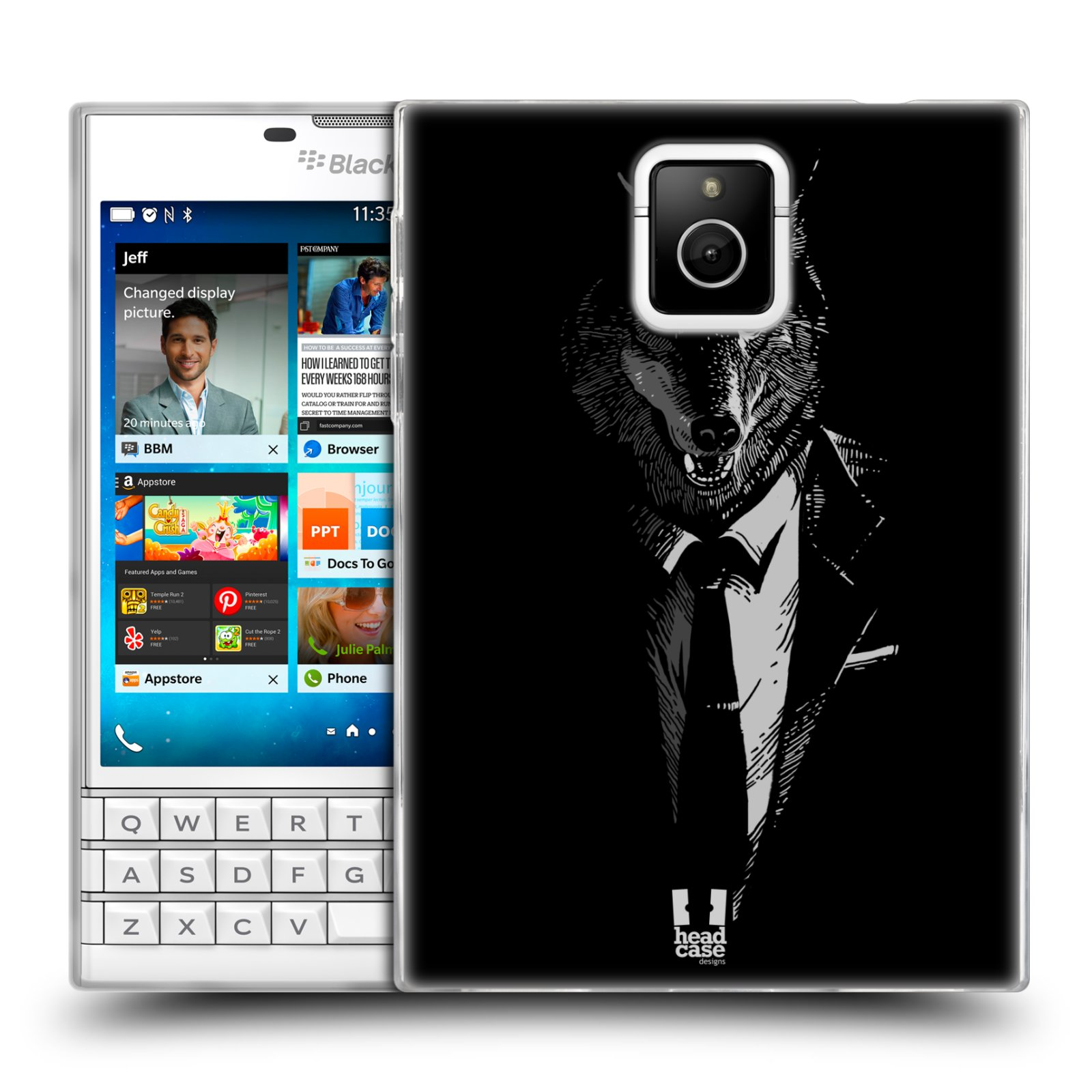 Silikonové pouzdro na mobil Blackberry PASSPORT HEAD CASE VLK V KVÁDRU (Silikonový kryt či obal na mobilní telefon Blackberry PASSPORT)