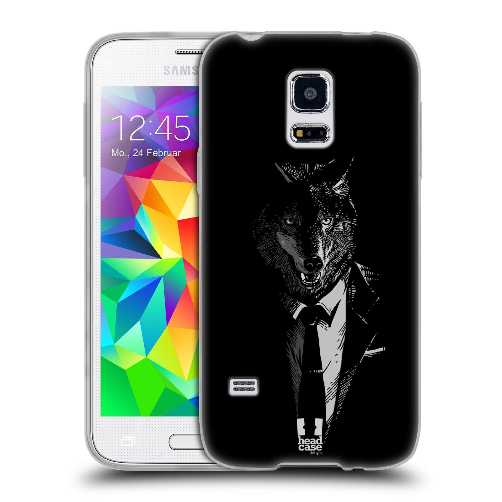 Silikonové pouzdro na mobil Samsung Galaxy S5 Mini HEAD CASE VLK V KVÁDRU (Silikonový kryt či obal na mobilní telefon Samsung Galaxy S5 Mini SM-G800F)
