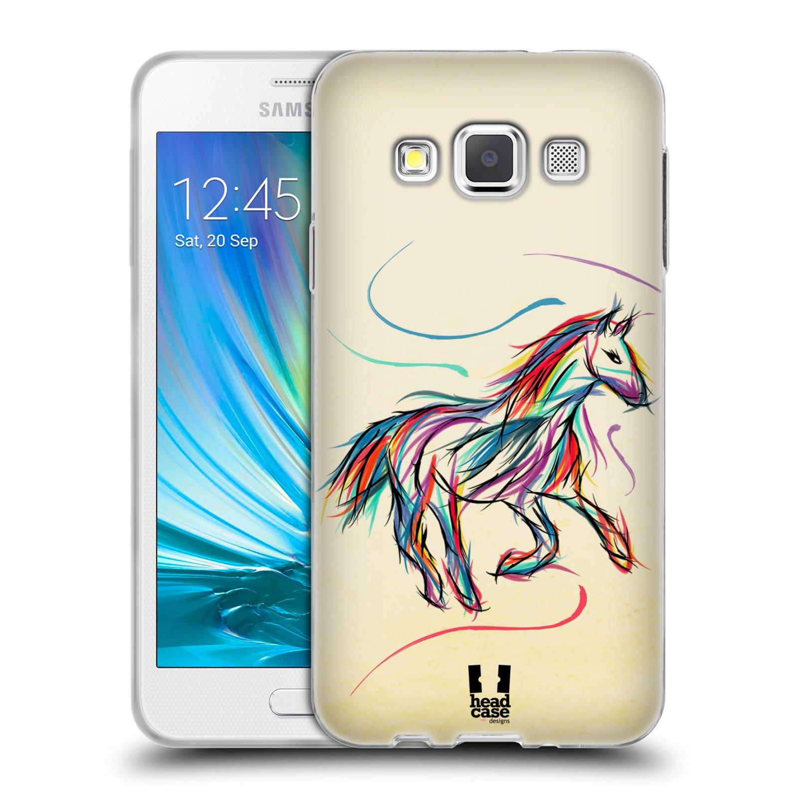 Silikonové pouzdro na mobil Samsung Galaxy A3 HEAD CASE KONÍK BAREVNÝ