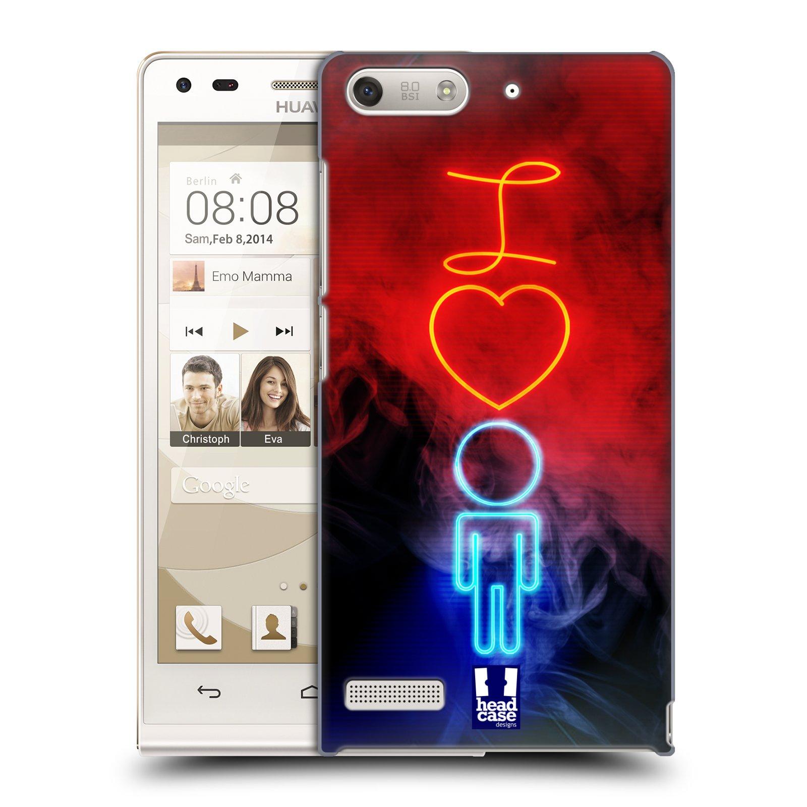 Plastové pouzdro na mobil Huawei Ascend G6 HEAD CASE NEON I LOVE HIM (Kryt či obal na mobilní telefon Huawei Ascend G6 bez LTE)
