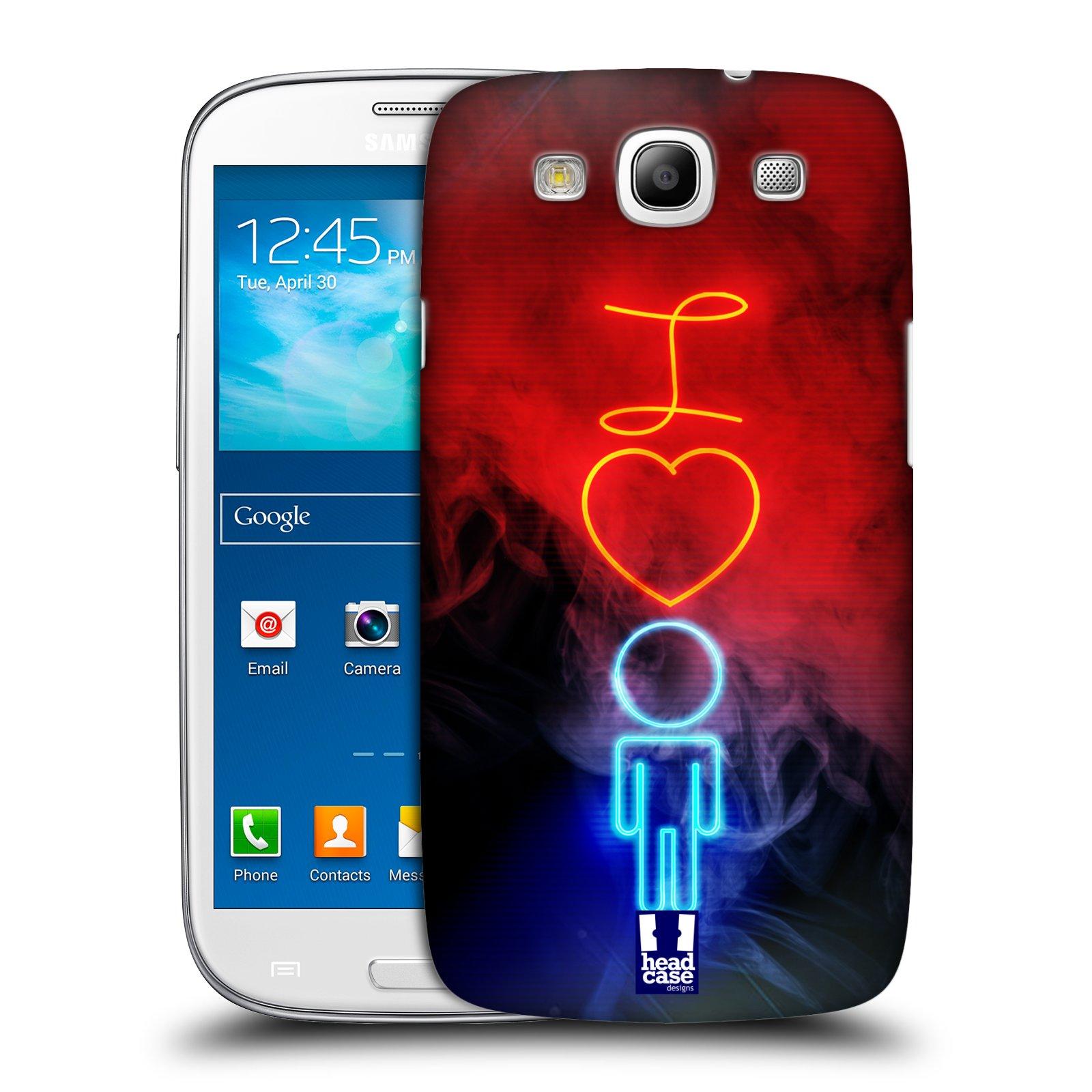 Plastové pouzdro na mobil Samsung Galaxy S3 Neo HEAD CASE NEON I LOVE HIM (Kryt či obal na mobilní telefon Samsung Galaxy S3 Neo GT-i9301i)