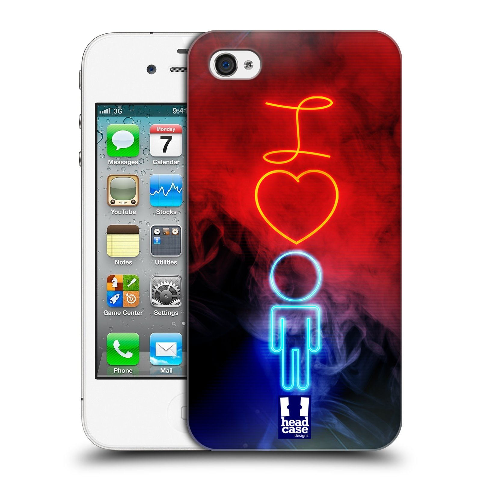 Plastové pouzdro na mobil Apple iPhone 4 a 4S HEAD CASE NEON I LOVE HIM