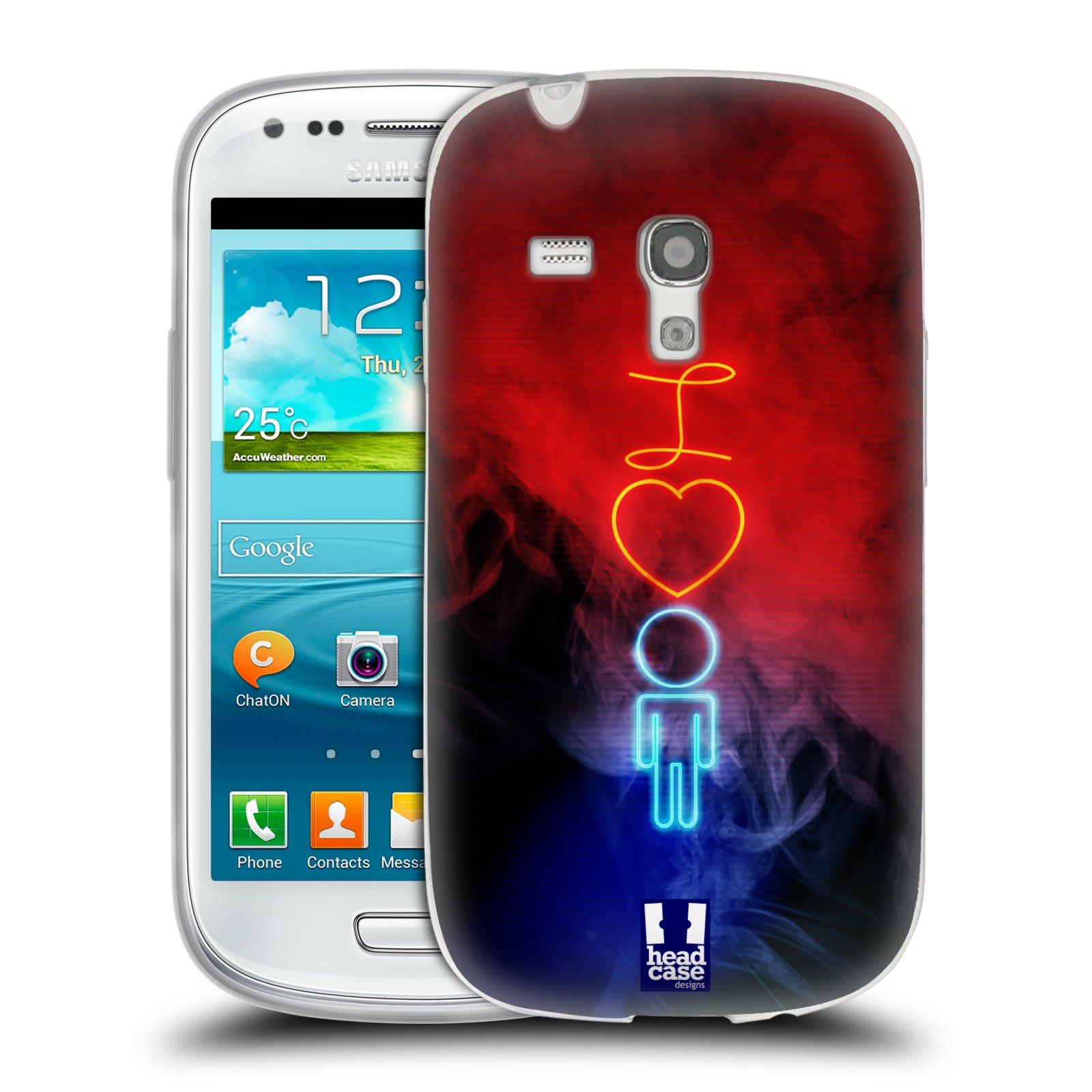 Silikonové pouzdro na mobil Samsung Galaxy S III Mini HEAD CASE NEON I LOVE HIM (Silikonový kryt či obal na mobilní telefon Samsung Galaxy S III Mini GT-i8190)