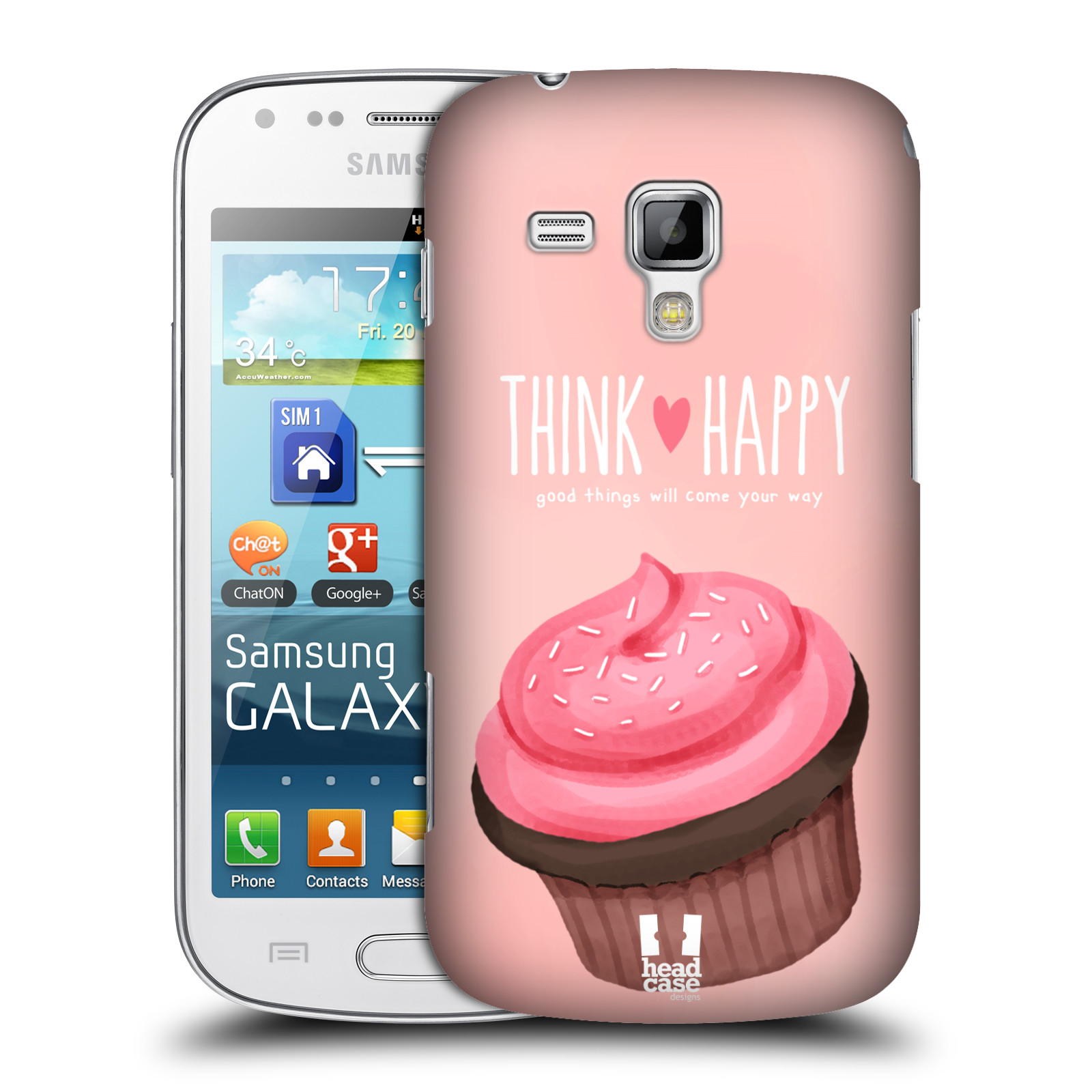 Plastové pouzdro na mobil Samsung Galaxy Trend Plus HEAD CASE CUPCAKE THINK HAPPY