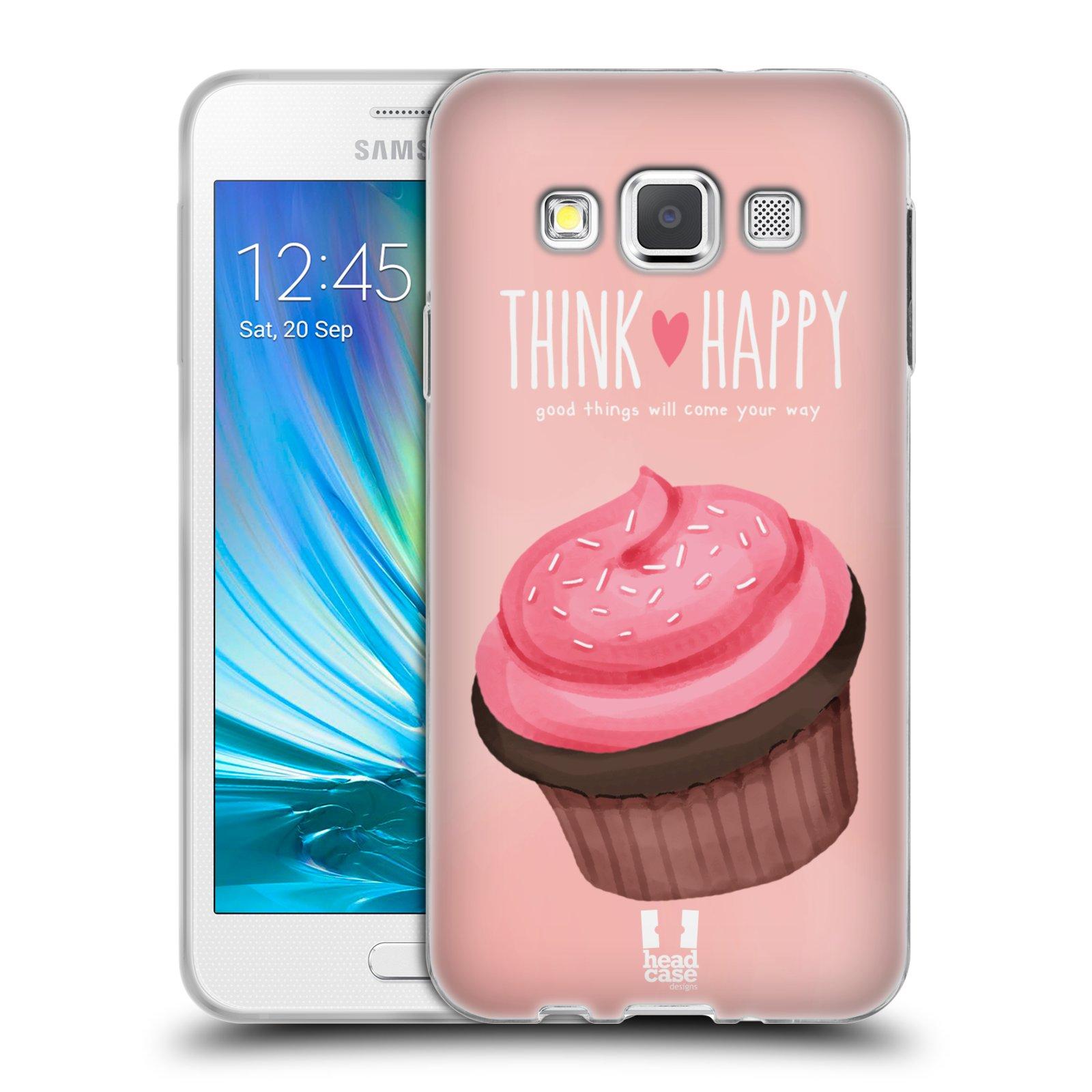 Silikonové pouzdro na mobil Samsung Galaxy A3 HEAD CASE CUPCAKE THINK HAPPY