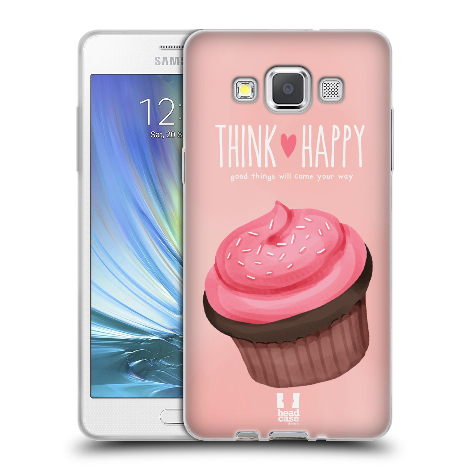 Silikonové pouzdro na mobil Samsung Galaxy A5 HEAD CASE CUPCAKE THINK HAPPY