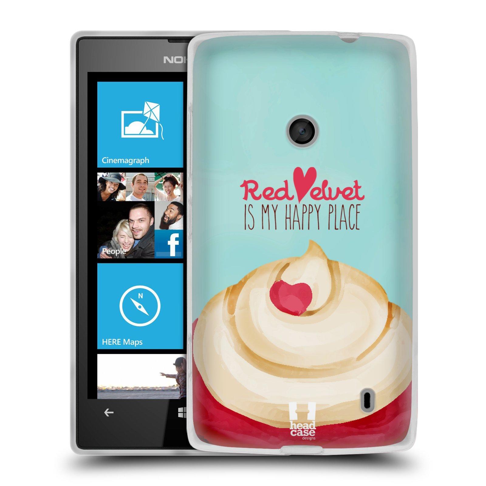 Silikonové pouzdro na mobil Nokia Lumia 520 HEAD CASE CUPCAKE RED VELVET (Silikonový Kryt či obal na mobilní telefon Nokia Lumia 520)