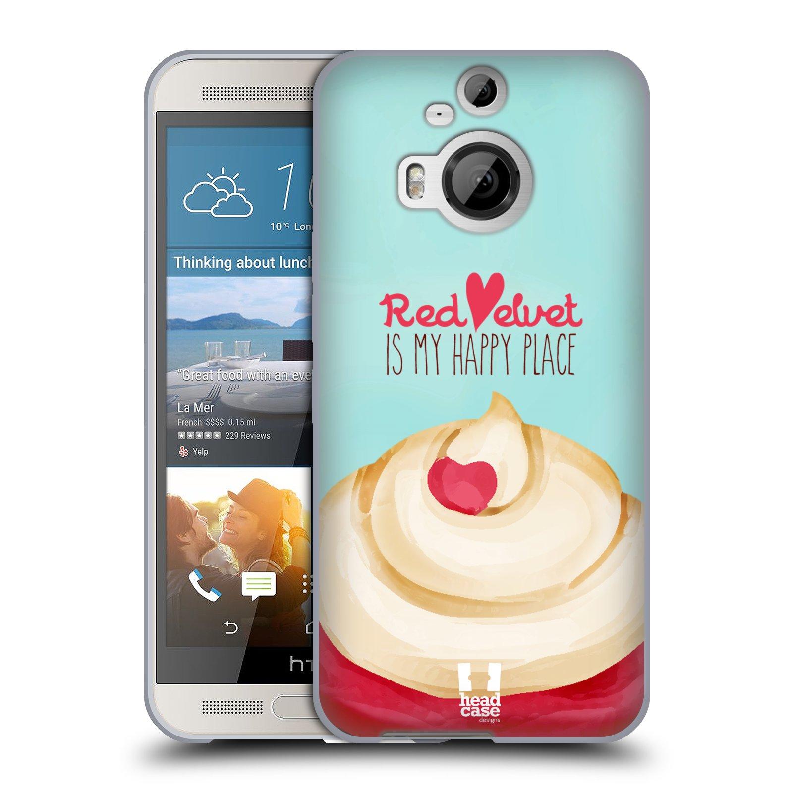 Silikonové pouzdro na mobil HTC One M9+ (Plus) HEAD CASE CUPCAKE RED VELVET (Silikonový kryt či obal na mobilní telefon HTC One M9+)