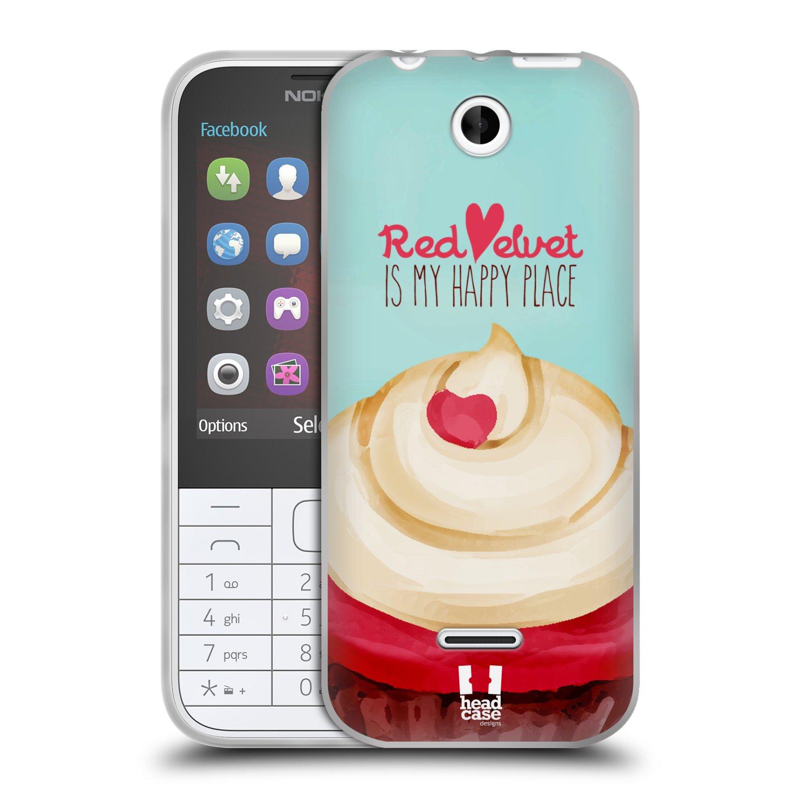 Silikonové pouzdro na mobil Nokia 225 HEAD CASE CUPCAKE RED VELVET (Silikonový kryt či obal na mobilní telefon Nokia 225)