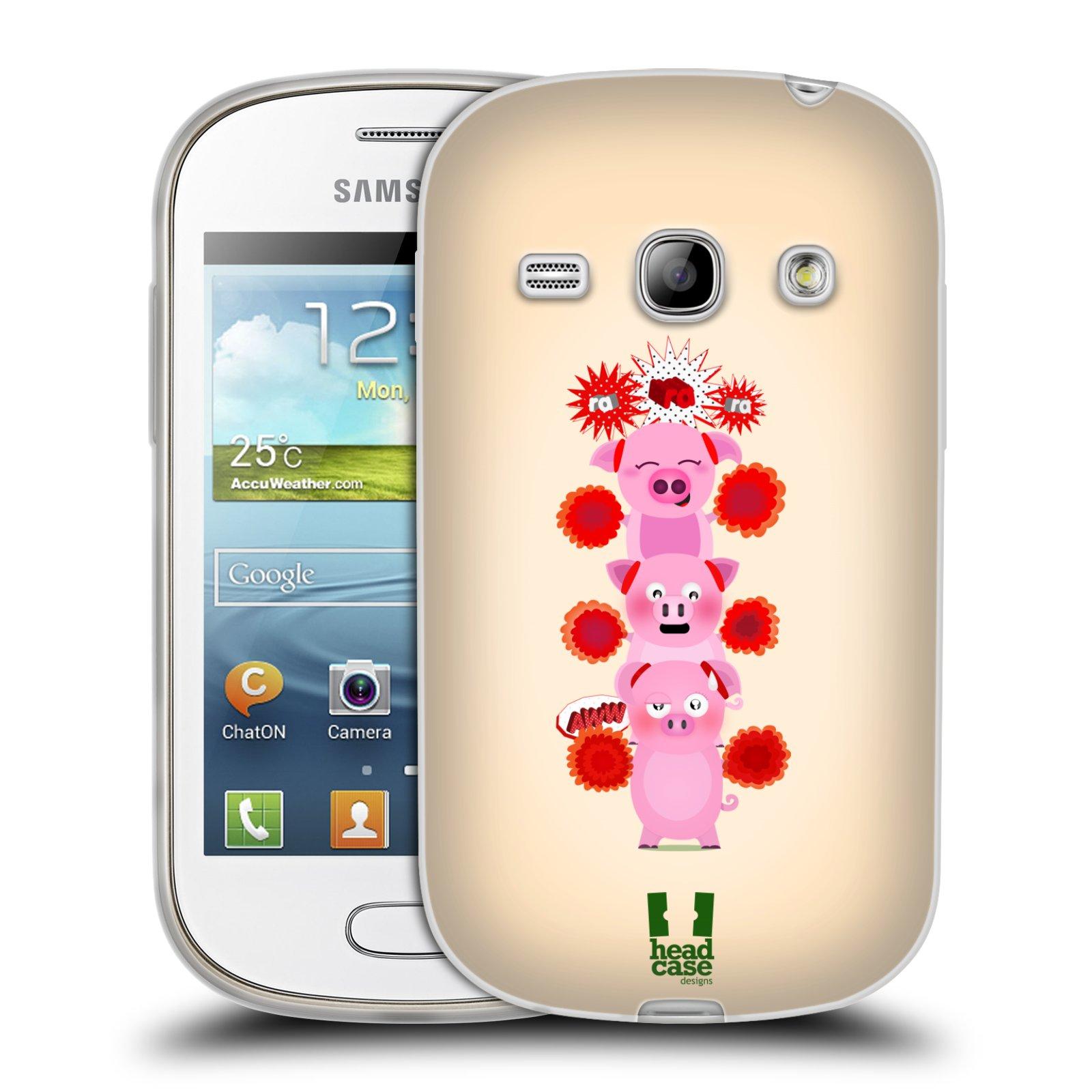 Silikonové pouzdro na mobil Samsung Galaxy Fame HEAD CASE Prasátka ra ra ra (Silikonový kryt či obal na mobilní telefon Samsung Galaxy Fame GT-S6810)