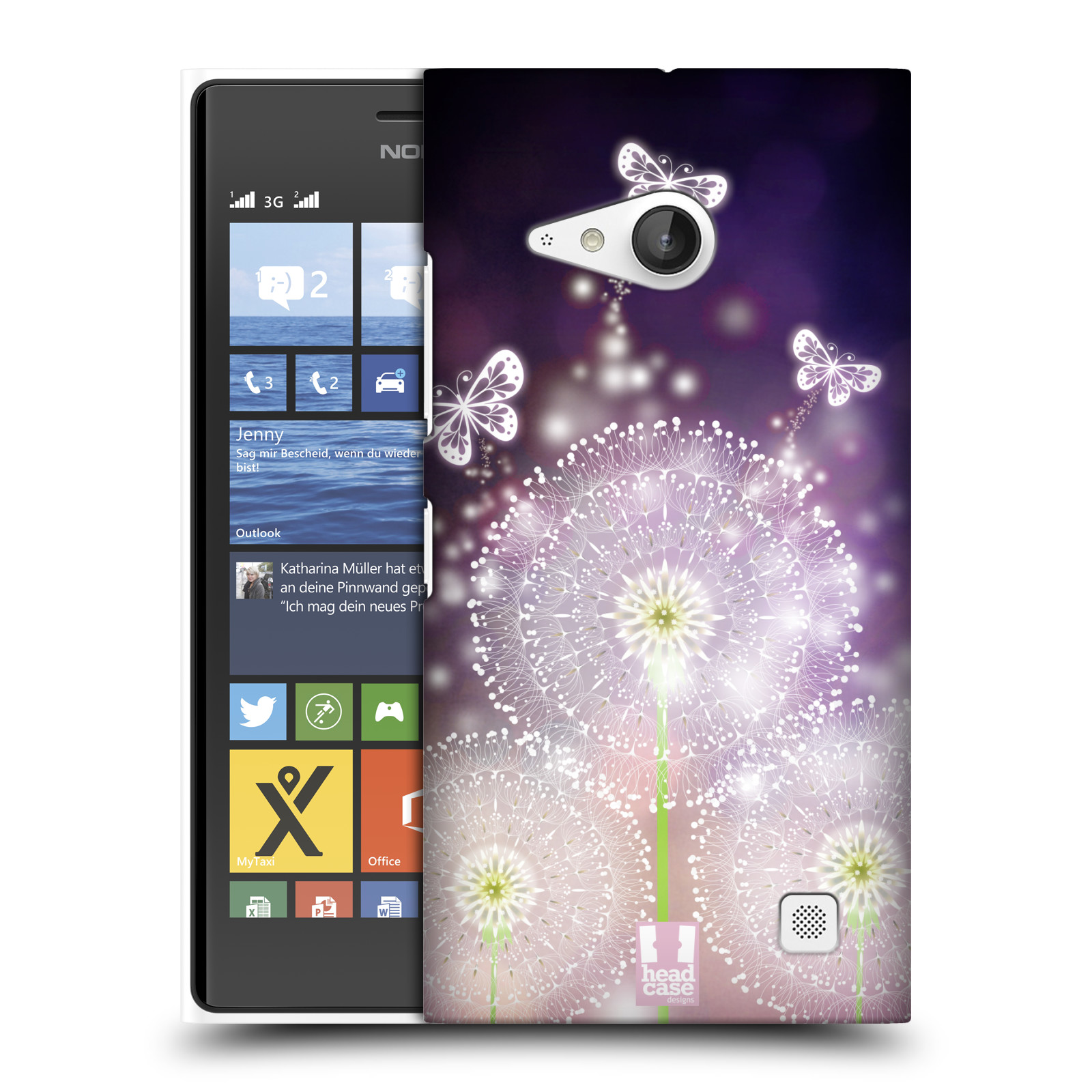 Plastové pouzdro na mobil Nokia Lumia 730 Dual SIM HEAD CASE Pampelišky a Motýlci (Kryt či obal na mobilní telefon Nokia Lumia 730 Dual SIM)