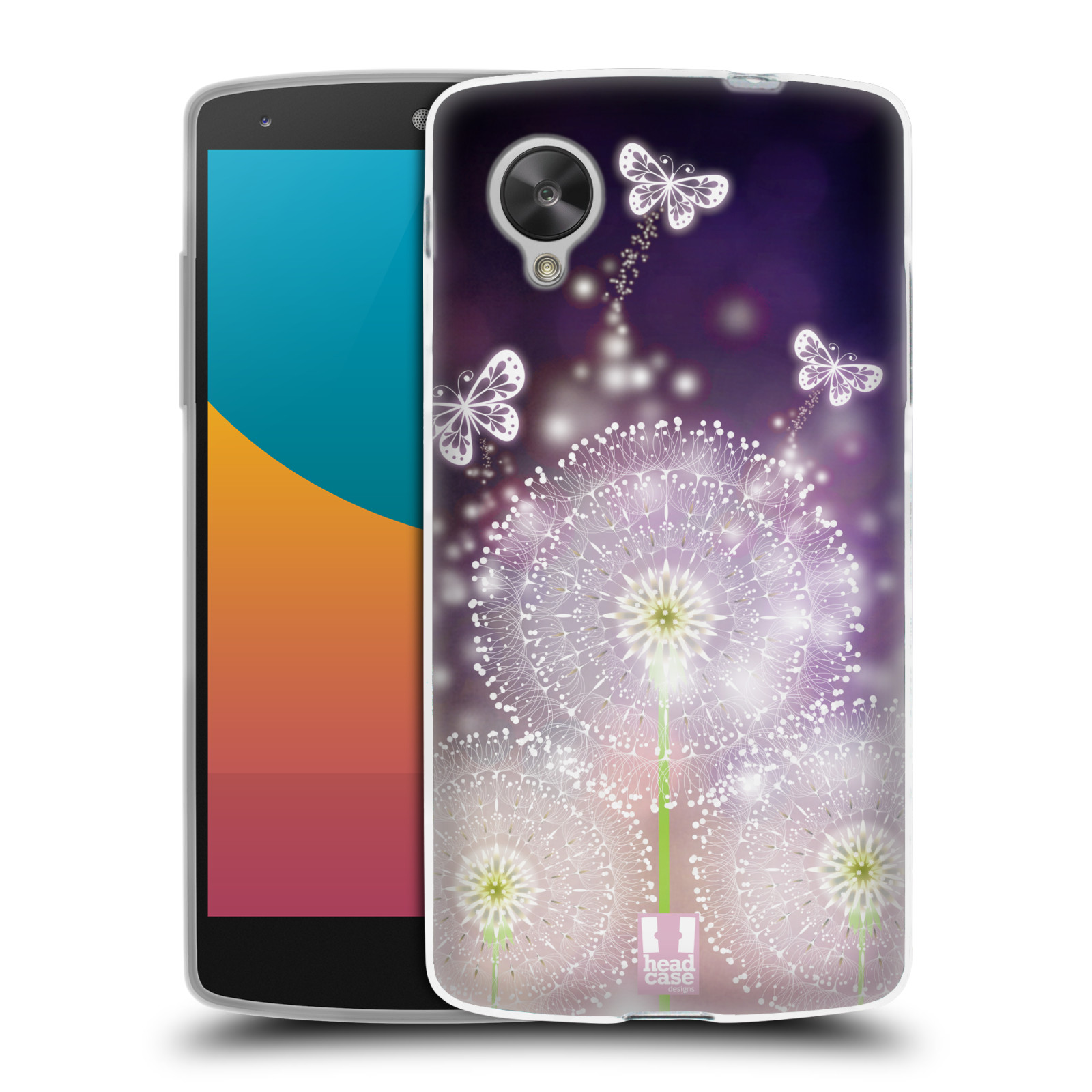 Silikonové pouzdro na mobil LG Nexus 5 HEAD CASE Pampelišky a Motýlci (Silikonový kryt či obal na mobilní telefon LG Google Nexus 5 D821)