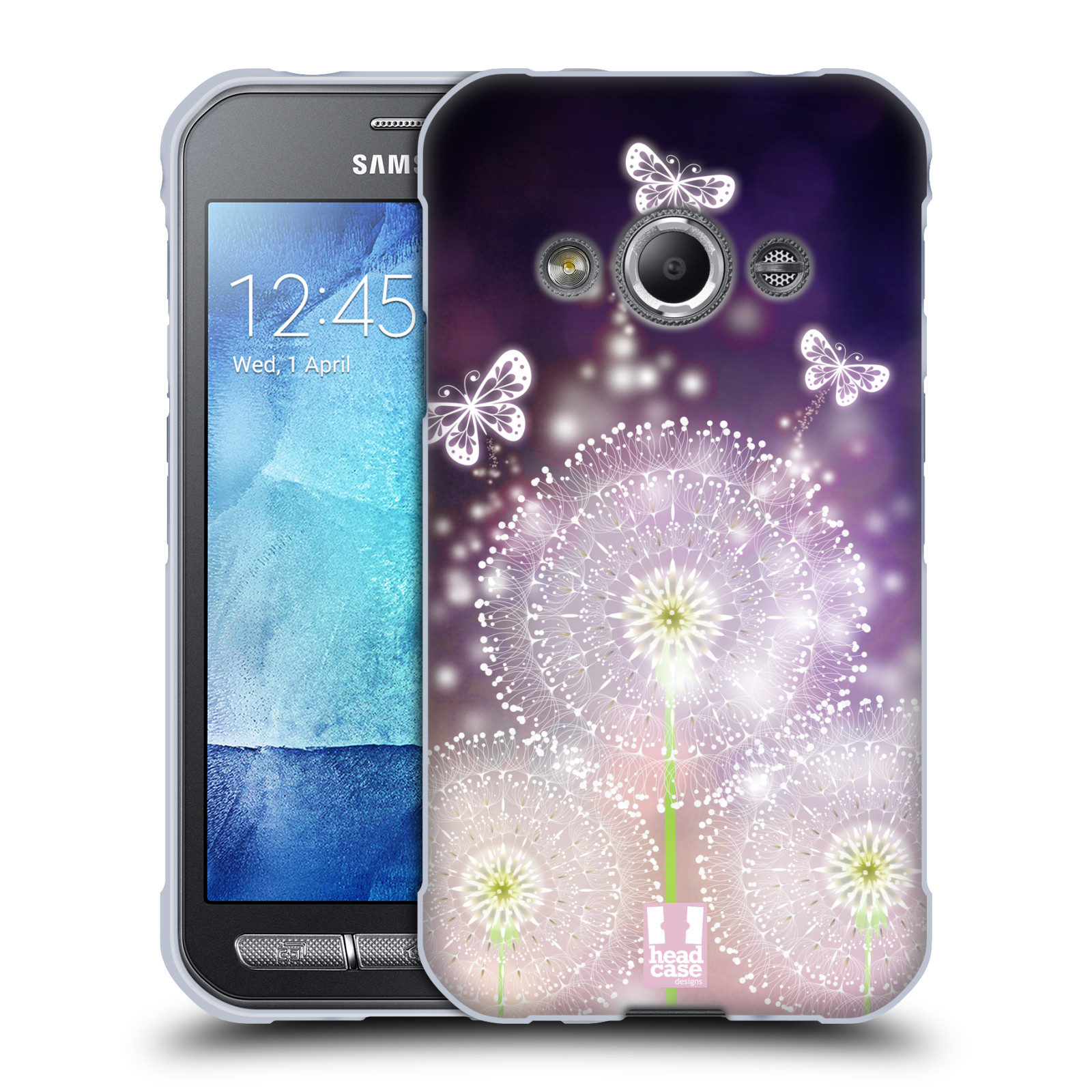 Silikonové pouzdro na mobil Samsung Galaxy Xcover 3 HEAD CASE Pampelišky a Motýlci (Silikonový kryt či obal na mobilní telefon Samsung Galaxy Xcover 3 SM-G388F)