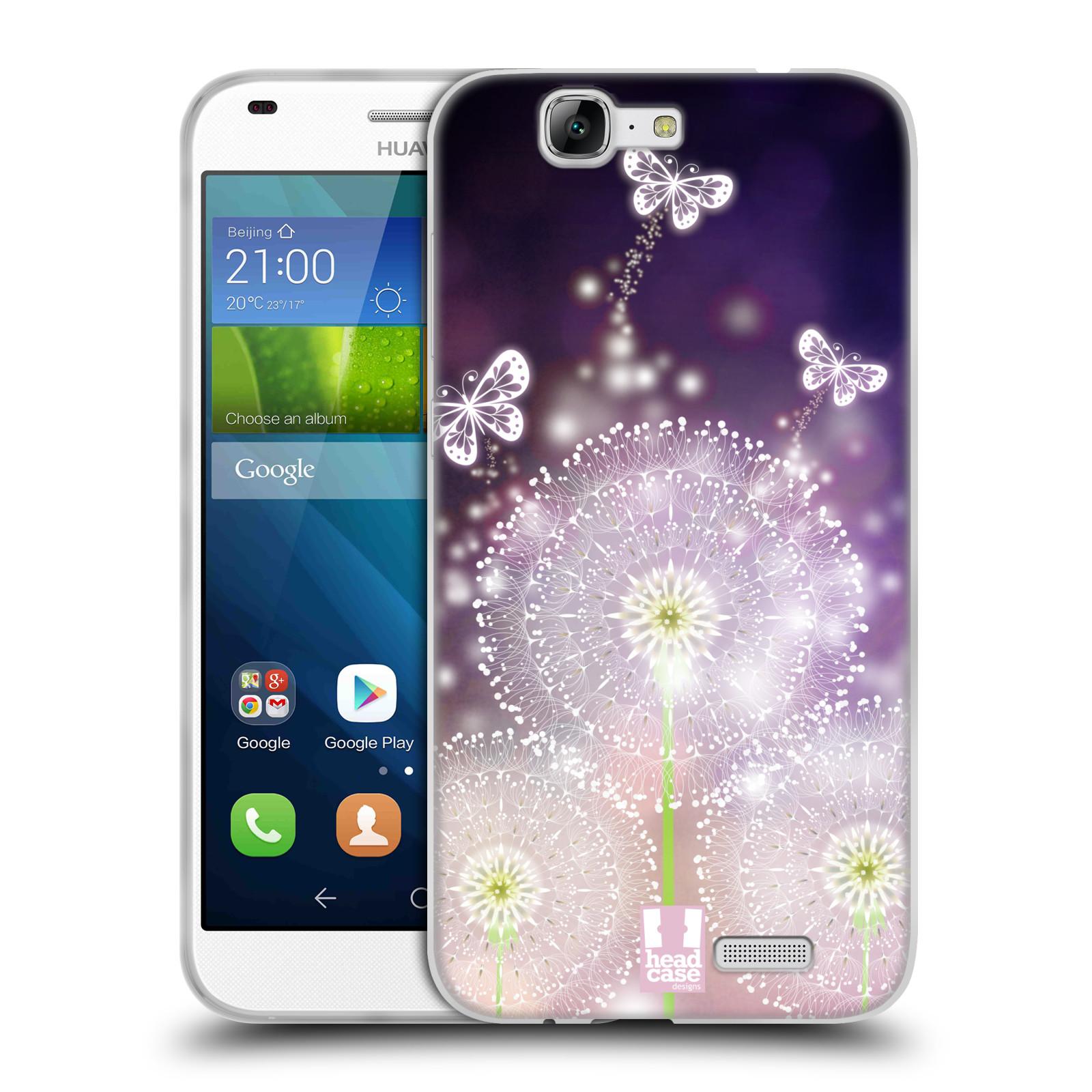 Silikonové pouzdro na mobil Huawei Ascend G7 HEAD CASE Pampelišky a Motýlci (Silikonový kryt či obal na mobilní telefon Huawei Ascend G7)