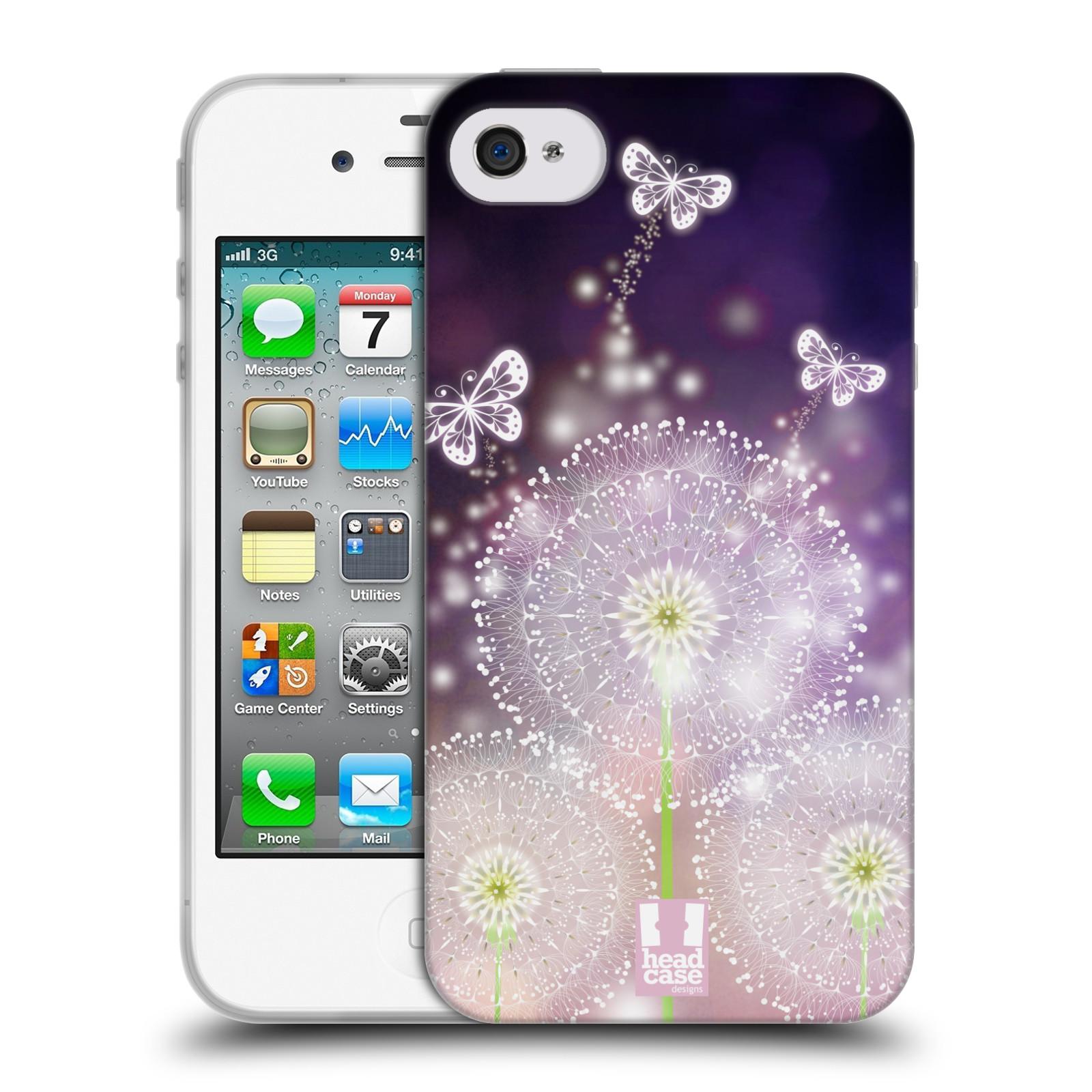 Silikonové pouzdro na mobil Apple iPhone 4 a 4S HEAD CASE Pampelišky a Motýlci (Silikonový kryt či obal na mobilní telefon Apple iPhone 4 a 4S)