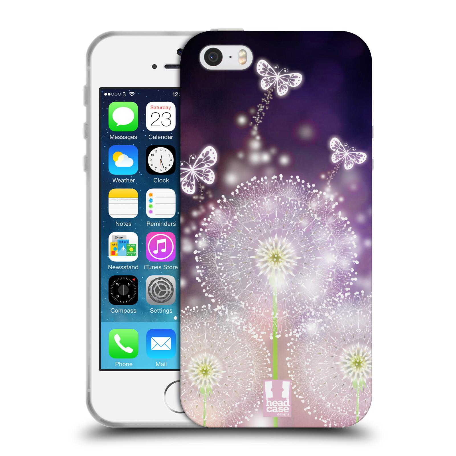 Silikonové pouzdro na mobil Apple iPhone SE, 5 a 5S HEAD CASE Pampelišky a Motýlci (Silikonový kryt či obal na mobilní telefon Apple iPhone SE, 5 a 5S)