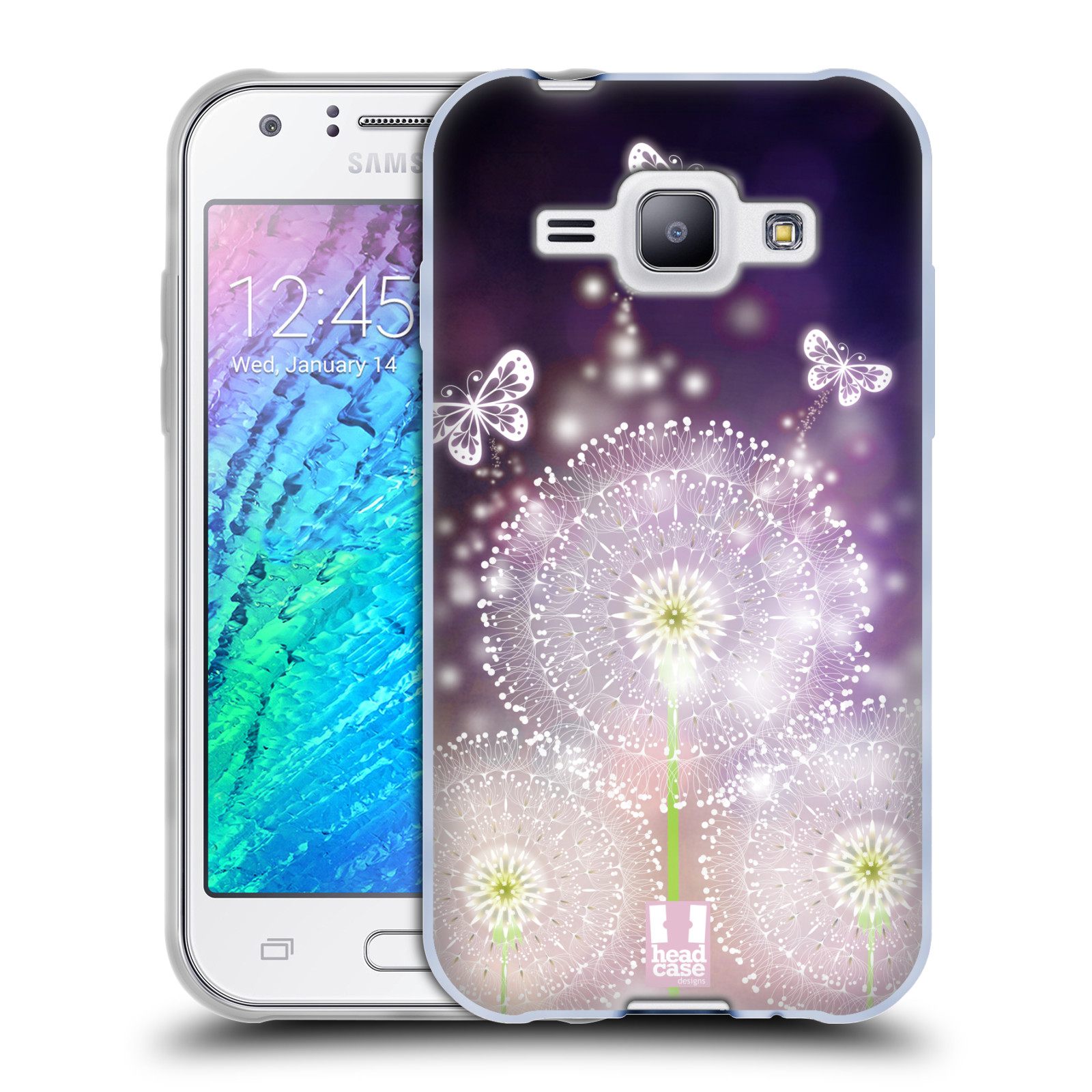 Silikonové pouzdro na mobil Samsung Galaxy J1 HEAD CASE Pampelišky a Motýlci (Silikonový kryt či obal na mobilní telefon Samsung Galaxy J1 a J1 Duos)