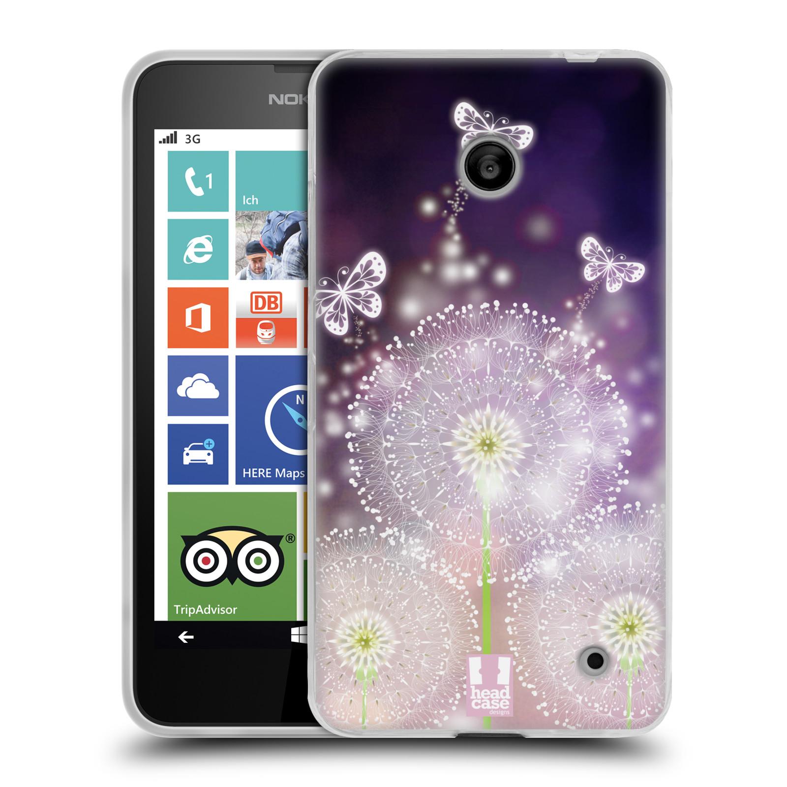 Silikonové pouzdro na mobil Nokia Lumia 630 HEAD CASE Pampelišky a Motýlci (Silikonový kryt či obal na mobilní telefon Nokia Lumia 630 a Nokia Lumia 630 Dual SIM)