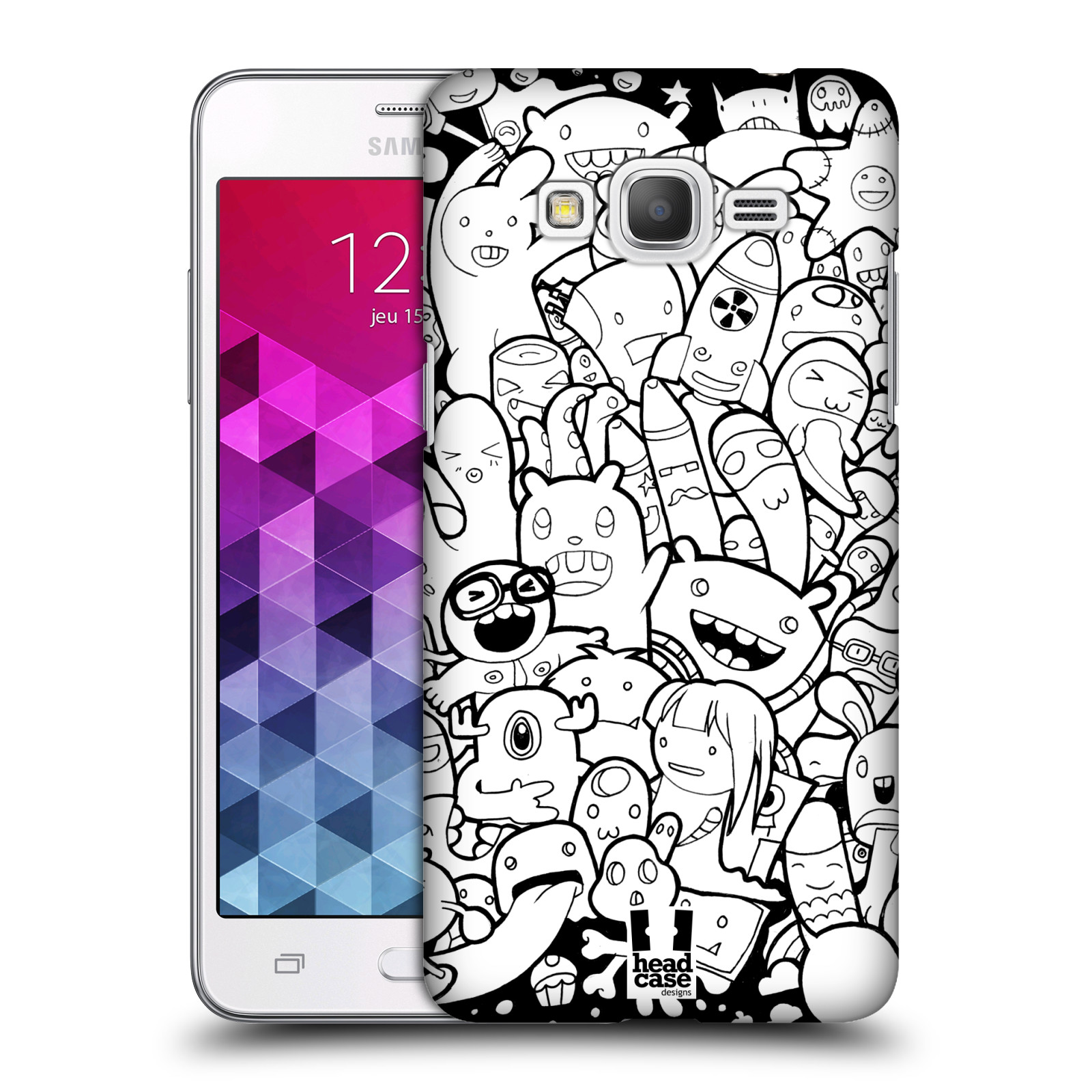 Plastové pouzdro na mobil Samsung Galaxy Grand Prime VE HEAD CASE DOODLE PŘÍŠERKY A MIMÍCI