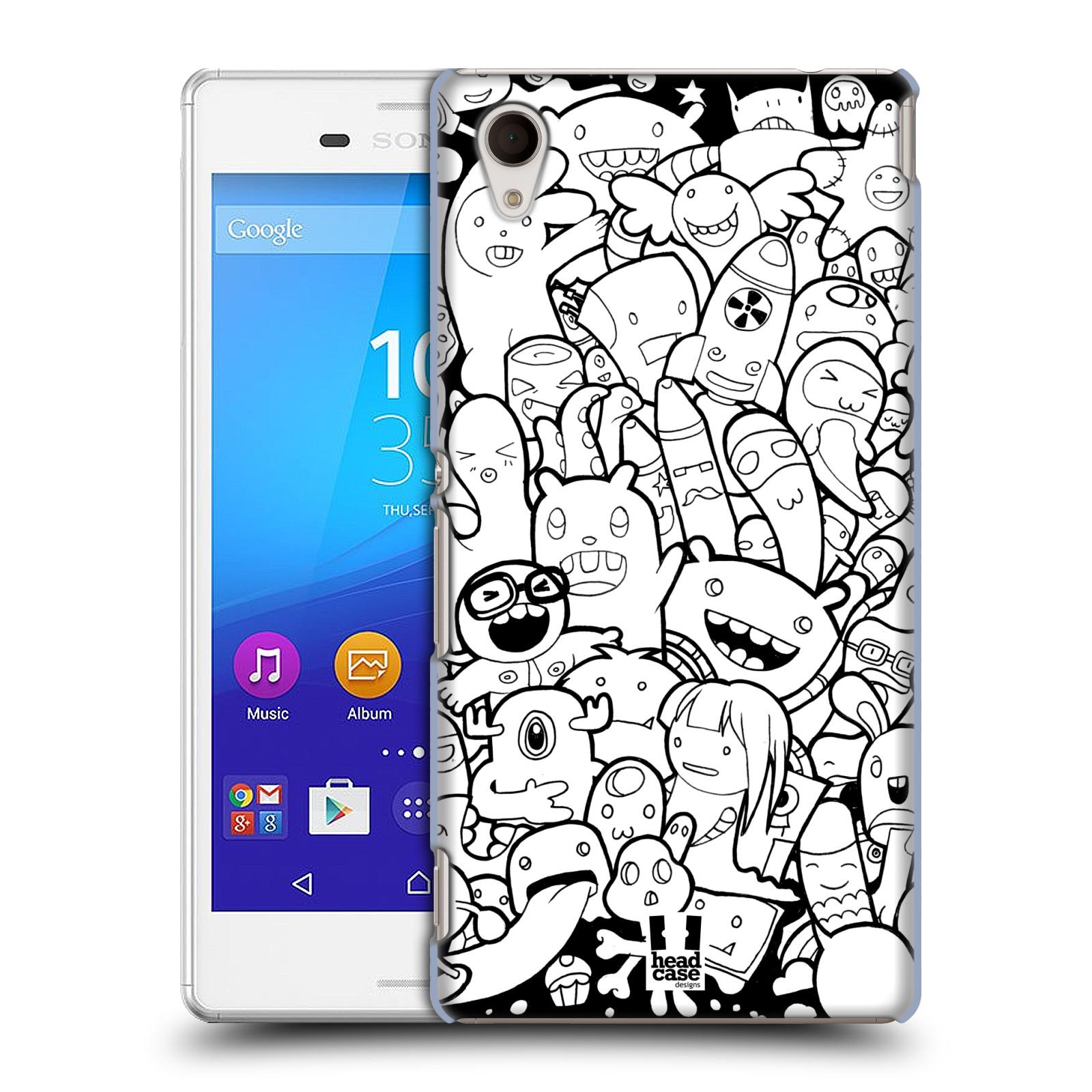 Plastové pouzdro na mobil Sony Xperia M4 Aqua E2303 HEAD CASE DOODLE PŘÍŠERKY A MIMÍCI (Kryt či obal na mobilní telefon Sony Xperia M4 Aqua a M4 Aqua Dual SIM)