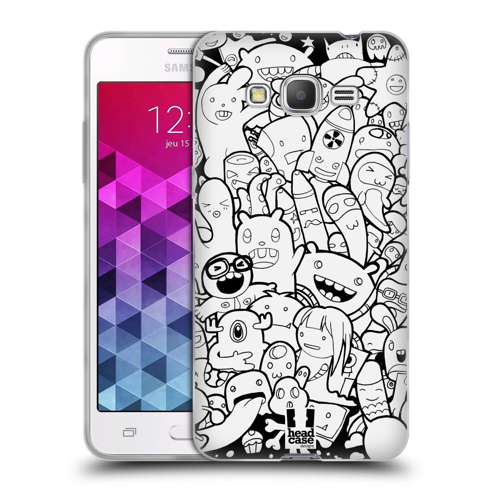 Silikonové pouzdro na mobil Samsung Galaxy Grand Prime HEAD CASE DOODLE PŘÍŠERKY A MIMÍCI