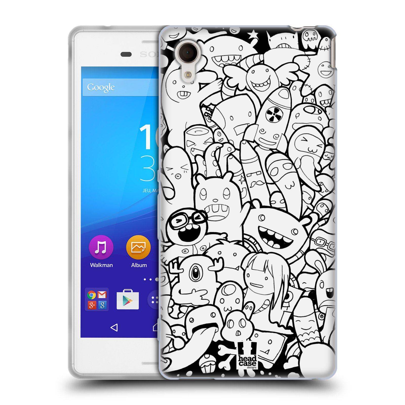 Silikonové pouzdro na mobil Sony Xperia M4 Aqua E2303 HEAD CASE DOODLE PŘÍŠERKY A MIMÍCI (Silikonový kryt či obal na mobilní telefon Sony Xperia M4 Aqua a M4 Aqua Dual SIM)