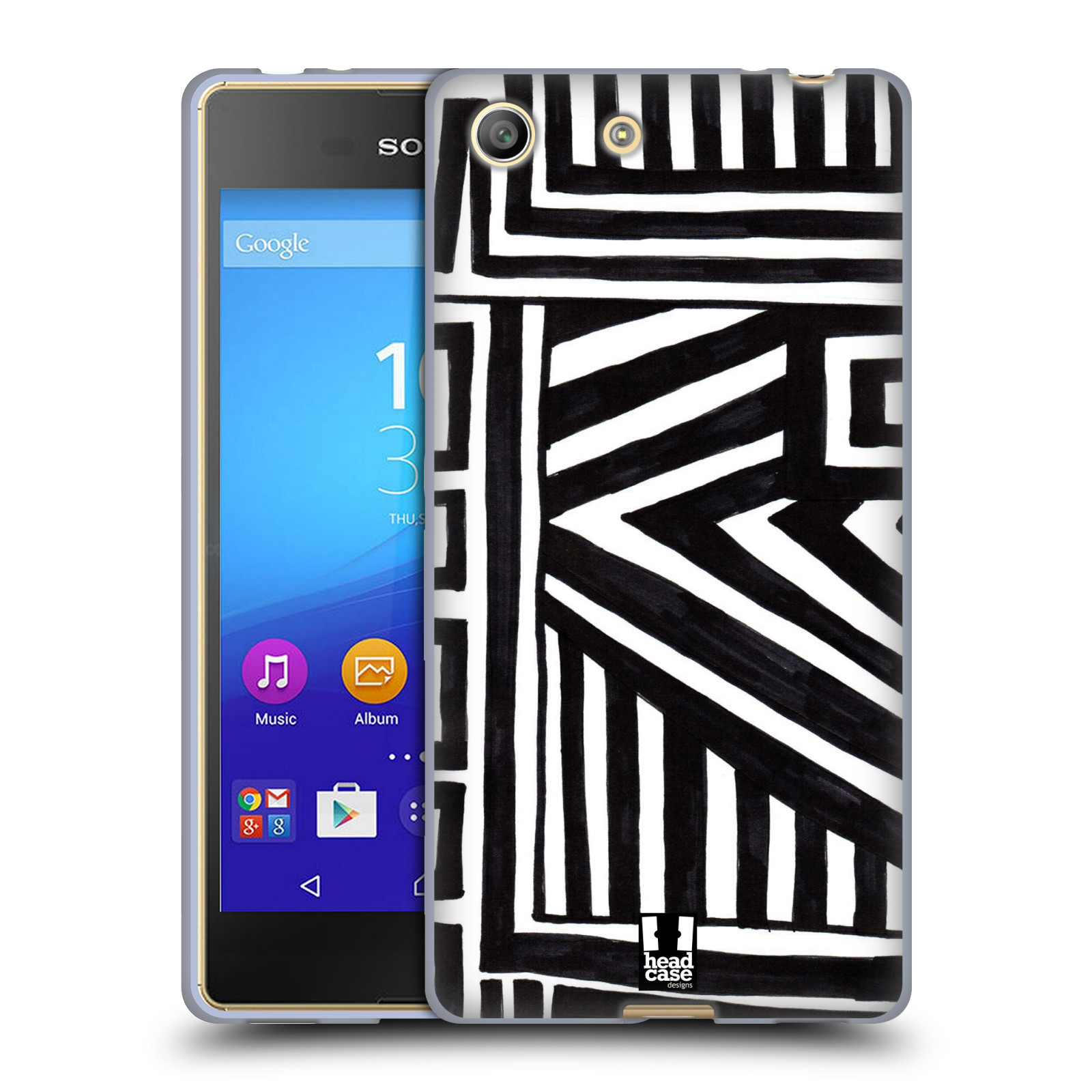 Silikonové pouzdro na mobil Sony Xperia M5 HEAD CASE DOODLE GEOMETRIC (Silikonový kryt či obal na mobilní telefon Sony Xperia M5 Dual SIM / Aqua)