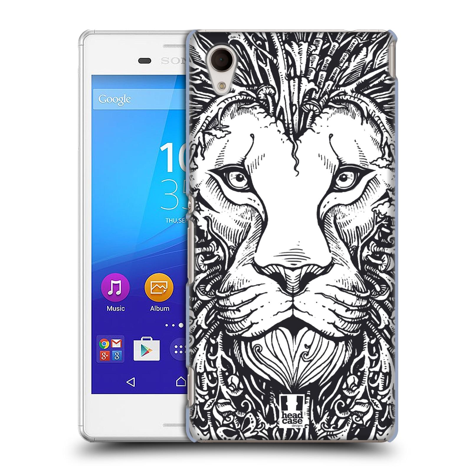 Plastové pouzdro na mobil Sony Xperia M4 Aqua E2303 HEAD CASE DOODLE TVÁŘ LEV (Kryt či obal na mobilní telefon Sony Xperia M4 Aqua a M4 Aqua Dual SIM)