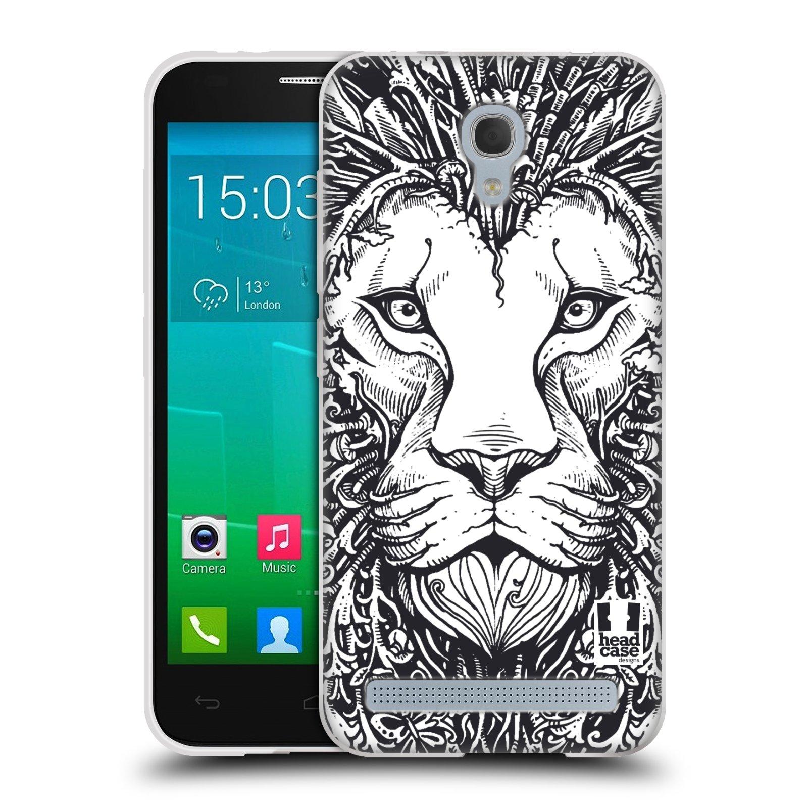 Silikonové pouzdro na mobil Alcatel One Touch Idol 2 Mini S 6036Y HEAD CASE DOODLE TVÁŘ LEV