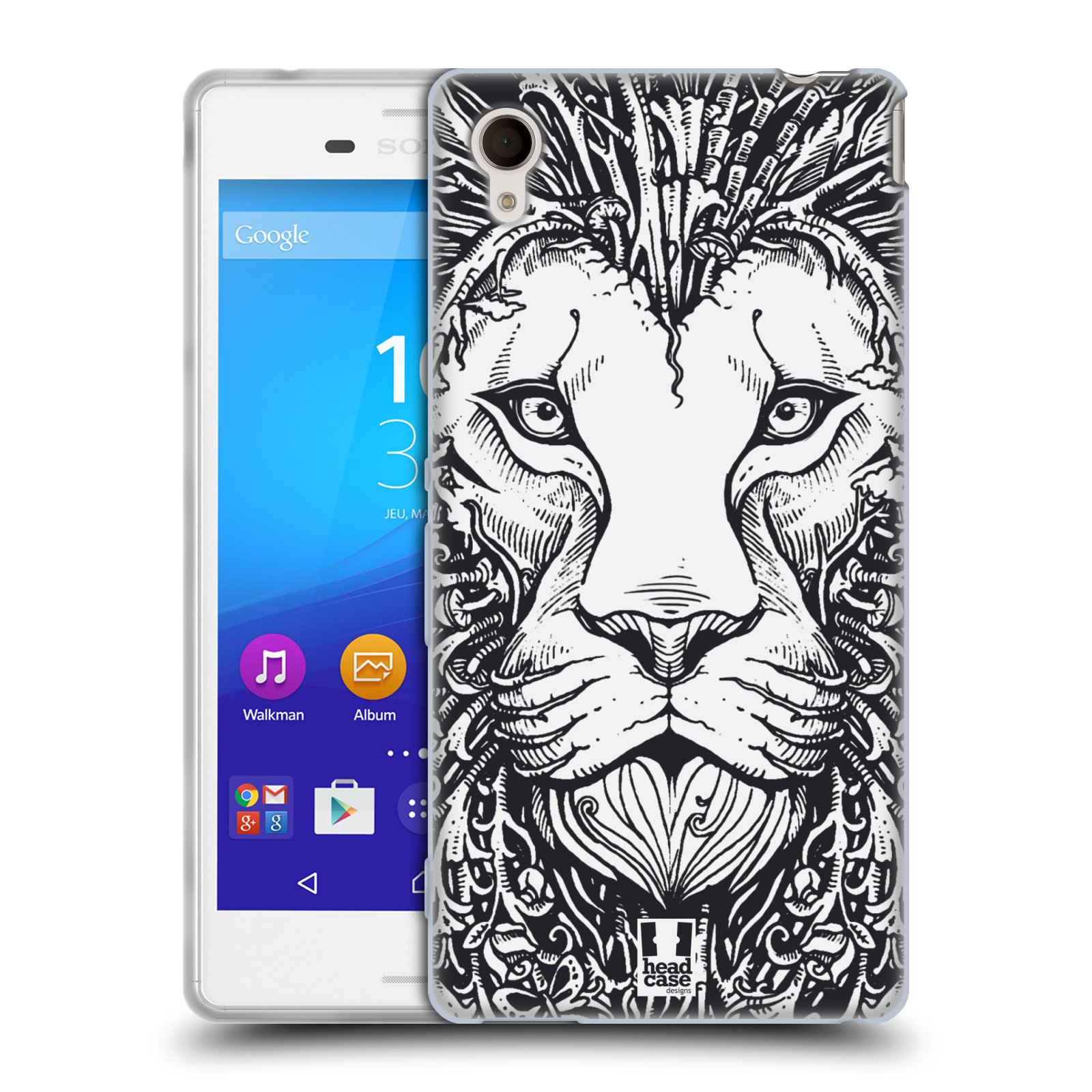 Silikonové pouzdro na mobil Sony Xperia M4 Aqua E2303 HEAD CASE DOODLE TVÁŘ LEV (Silikonový kryt či obal na mobilní telefon Sony Xperia M4 Aqua a M4 Aqua Dual SIM)