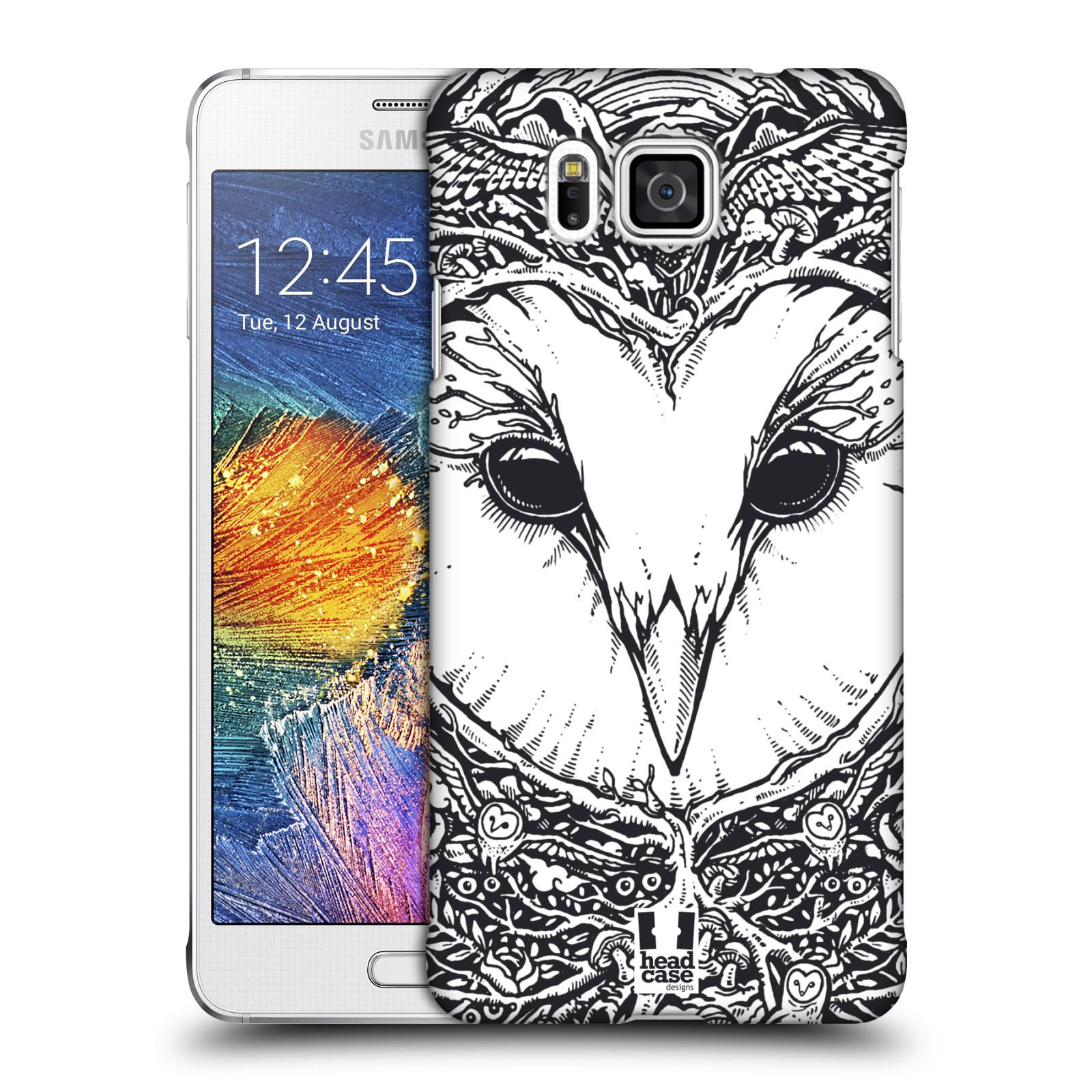 Plastové pouzdro na mobil Samsung Galaxy Alpha HEAD CASE DOODLE TVÁŘ SOVA