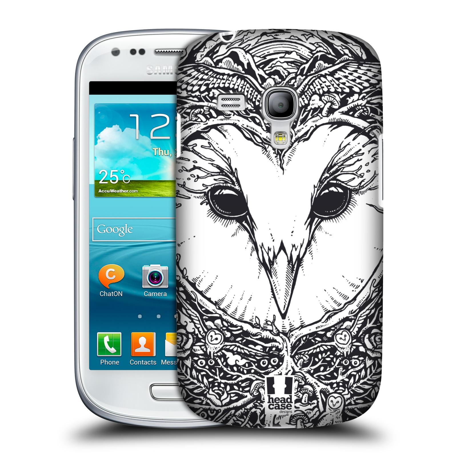 Plastové pouzdro na mobil Samsung Galaxy S3 Mini VE HEAD CASE DOODLE TVÁŘ SOVA (Kryt či obal na mobilní telefon Samsung Galaxy S3 Mini VE GT-i8200)
