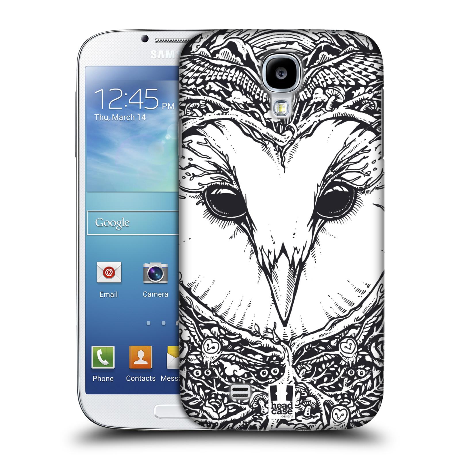 Plastové pouzdro na mobil Samsung Galaxy S4 HEAD CASE DOODLE TVÁŘ SOVA (Kryt či obal na mobilní telefon Samsung Galaxy S4 GT-i9505 / i9500)