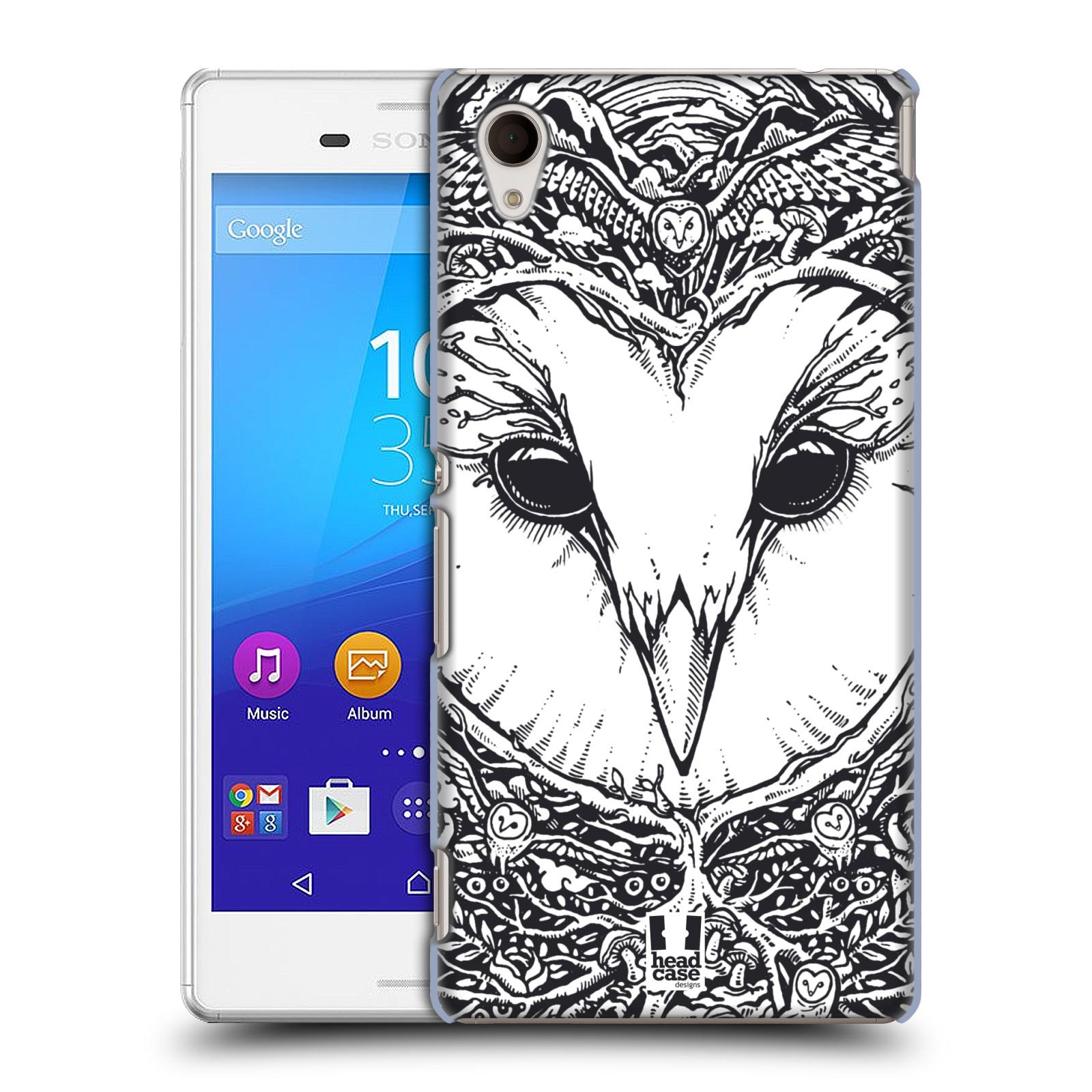 Plastové pouzdro na mobil Sony Xperia M4 Aqua E2303 HEAD CASE DOODLE TVÁŘ SOVA (Kryt či obal na mobilní telefon Sony Xperia M4 Aqua a M4 Aqua Dual SIM)