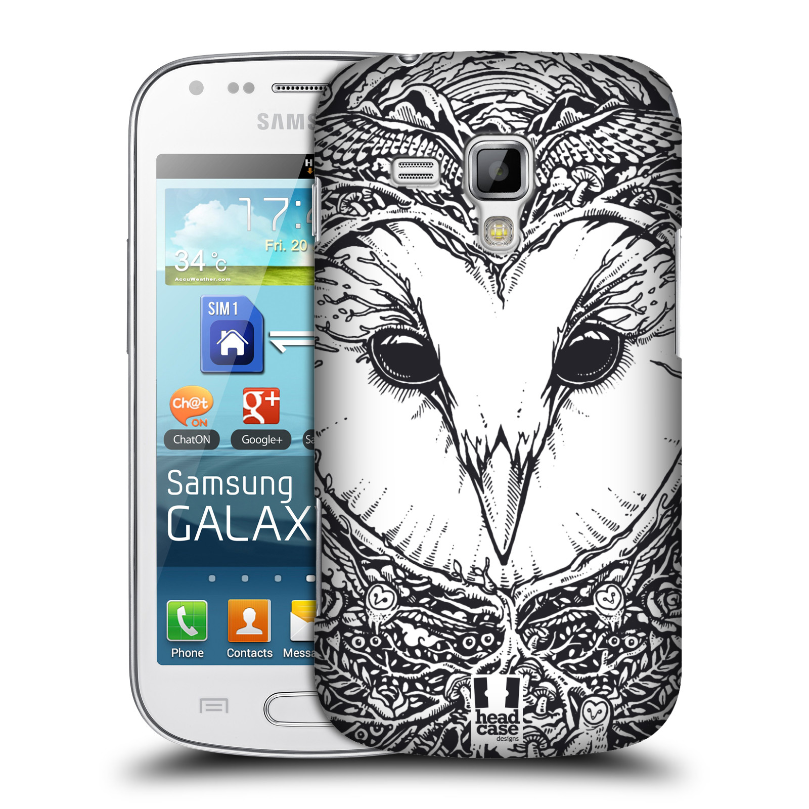 Plastové pouzdro na mobil Samsung Galaxy Trend Plus HEAD CASE DOODLE TVÁŘ SOVA